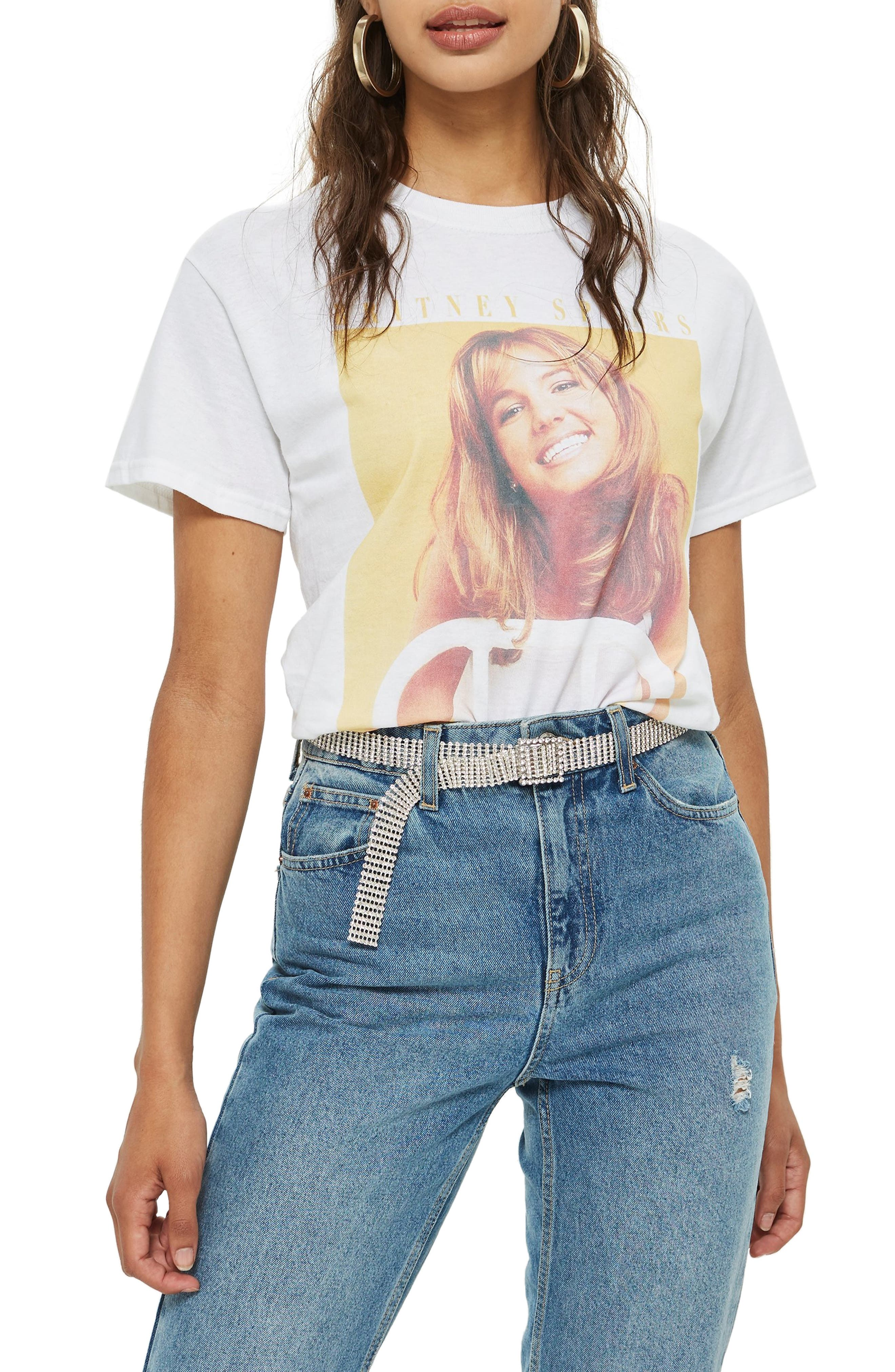 TOPSHOP Britney Spears Graphic Tee, Main, color, 100