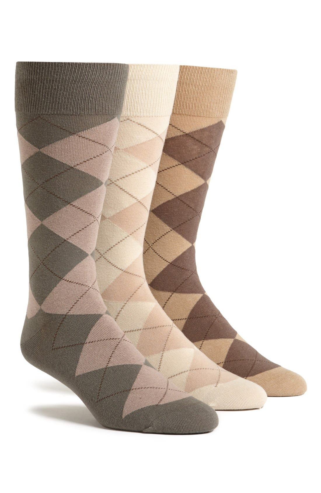 3-Pack Argyle Socks,                         Main,                         color, LT COFFEE/ BONE WHITE/ TOBACCO