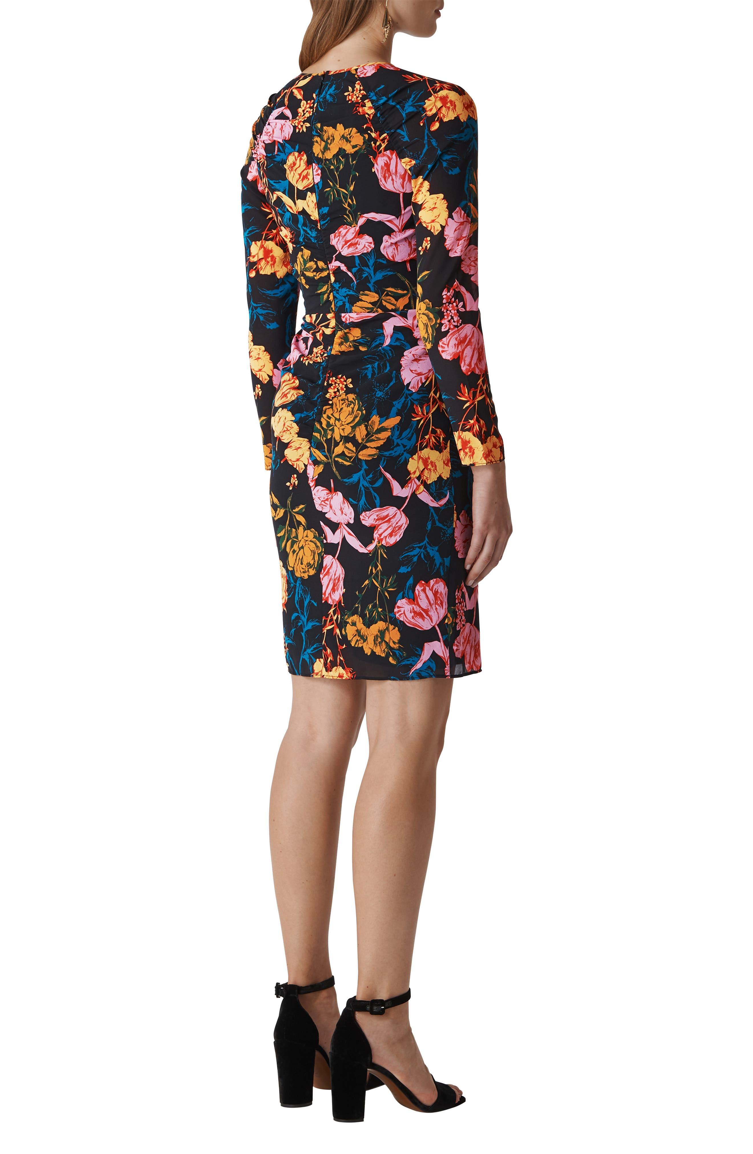 Digital Bloom Print Body-Con Dress,                             Alternate thumbnail 2, color,                             MULTICOLOUR