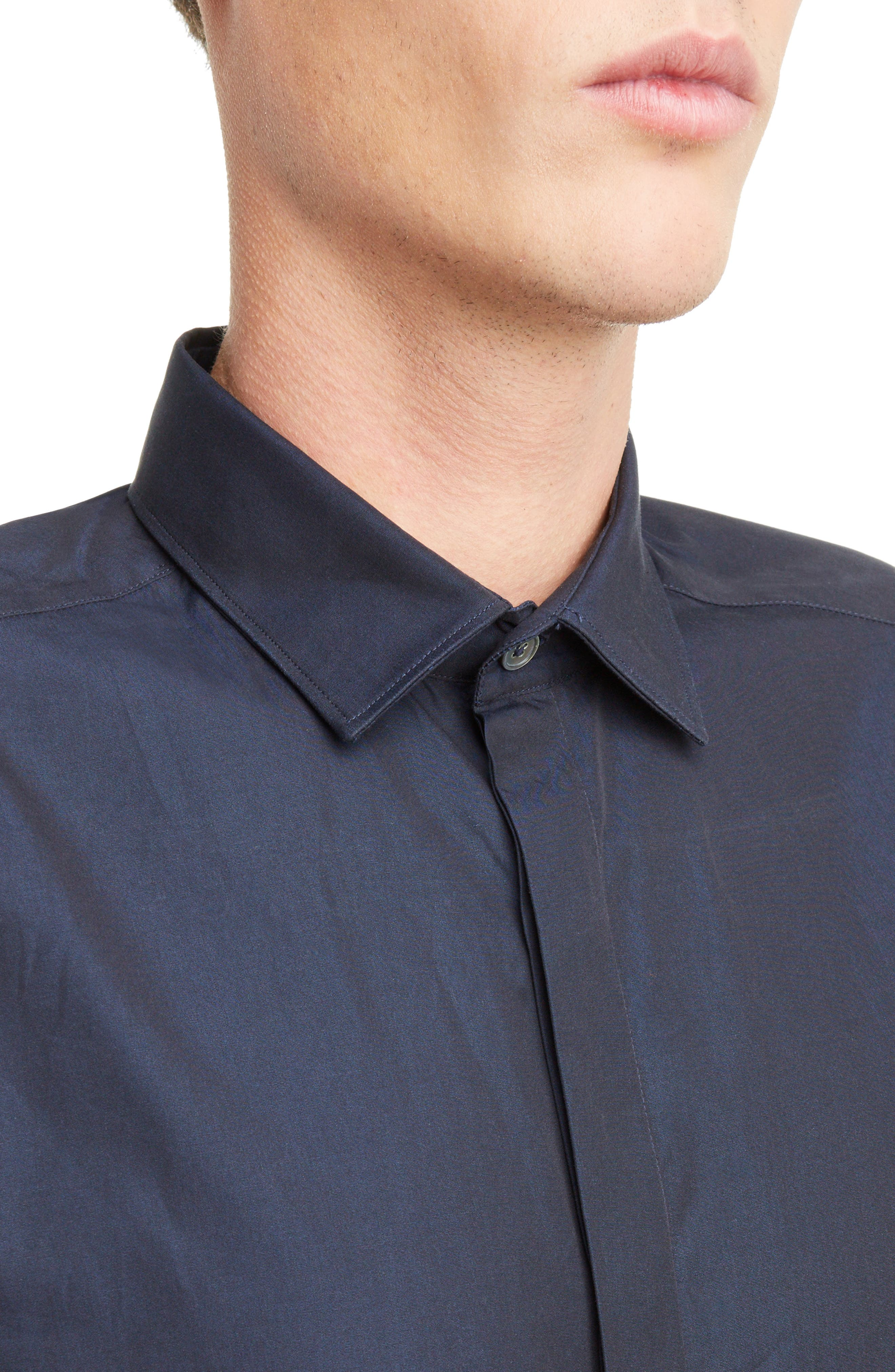 Covered Placket Sport Shirt,                             Alternate thumbnail 5, color,                             NAVY