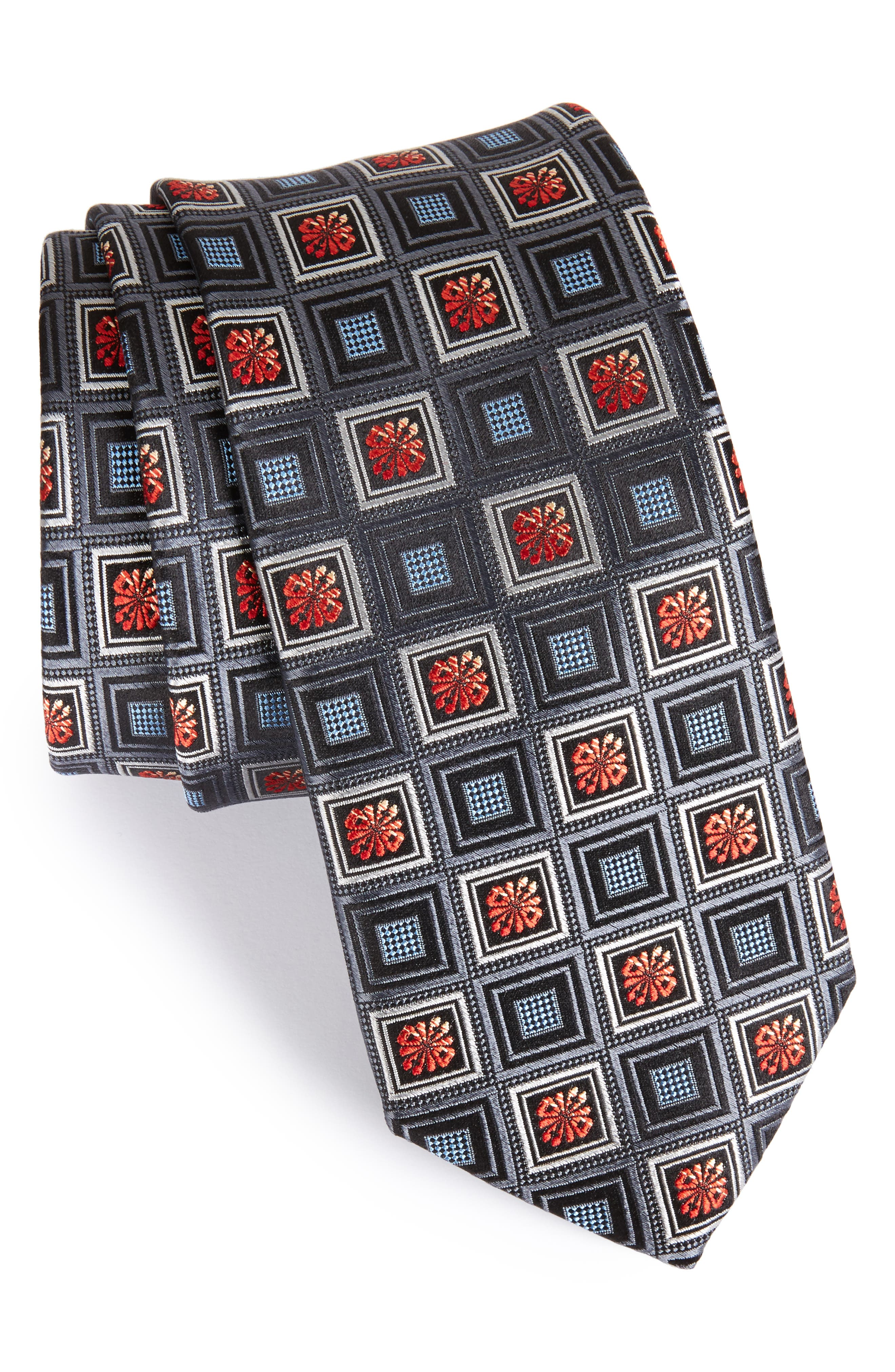 John W. Nordstrom Medallion Silk Tie,                             Main thumbnail 1, color,                             001