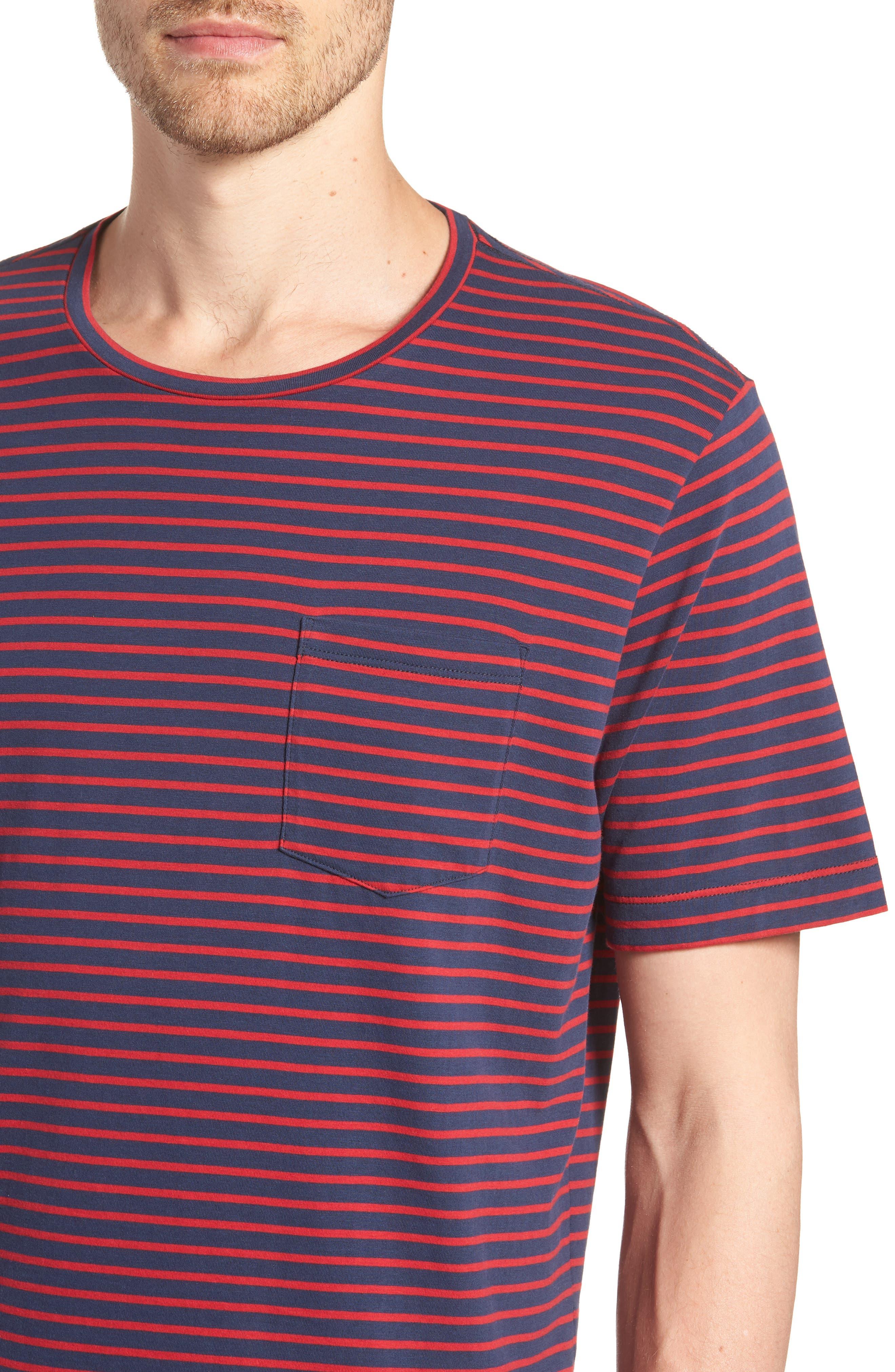 Stripe Brushed Pima Cotton T-Shirt,                             Alternate thumbnail 12, color,