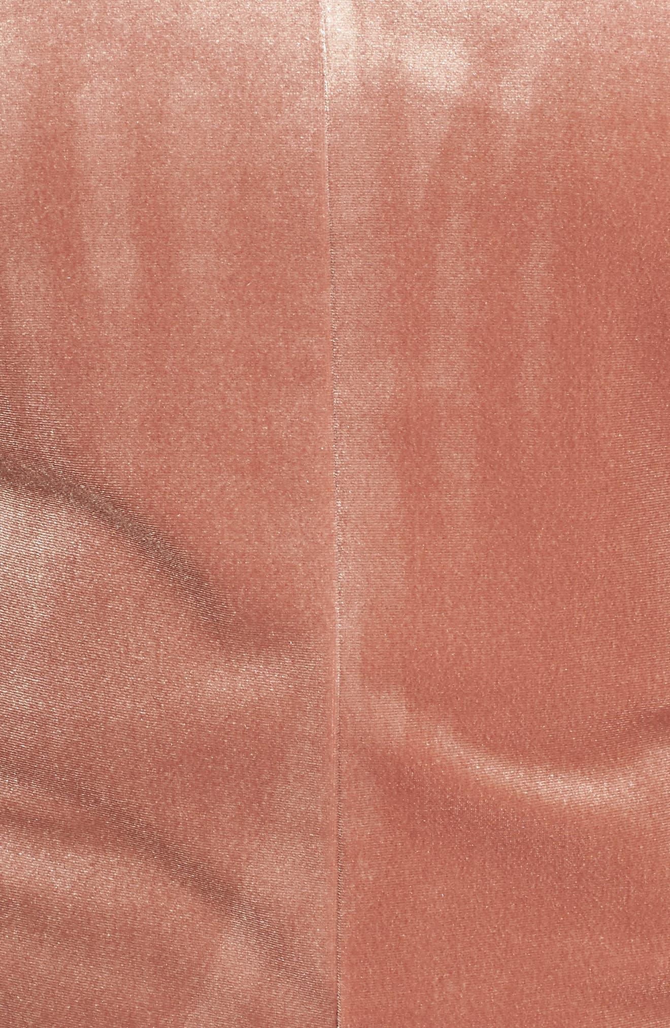 Lace Trim Velvet Top,                             Alternate thumbnail 5, color,                             METALLIC BUBBLE