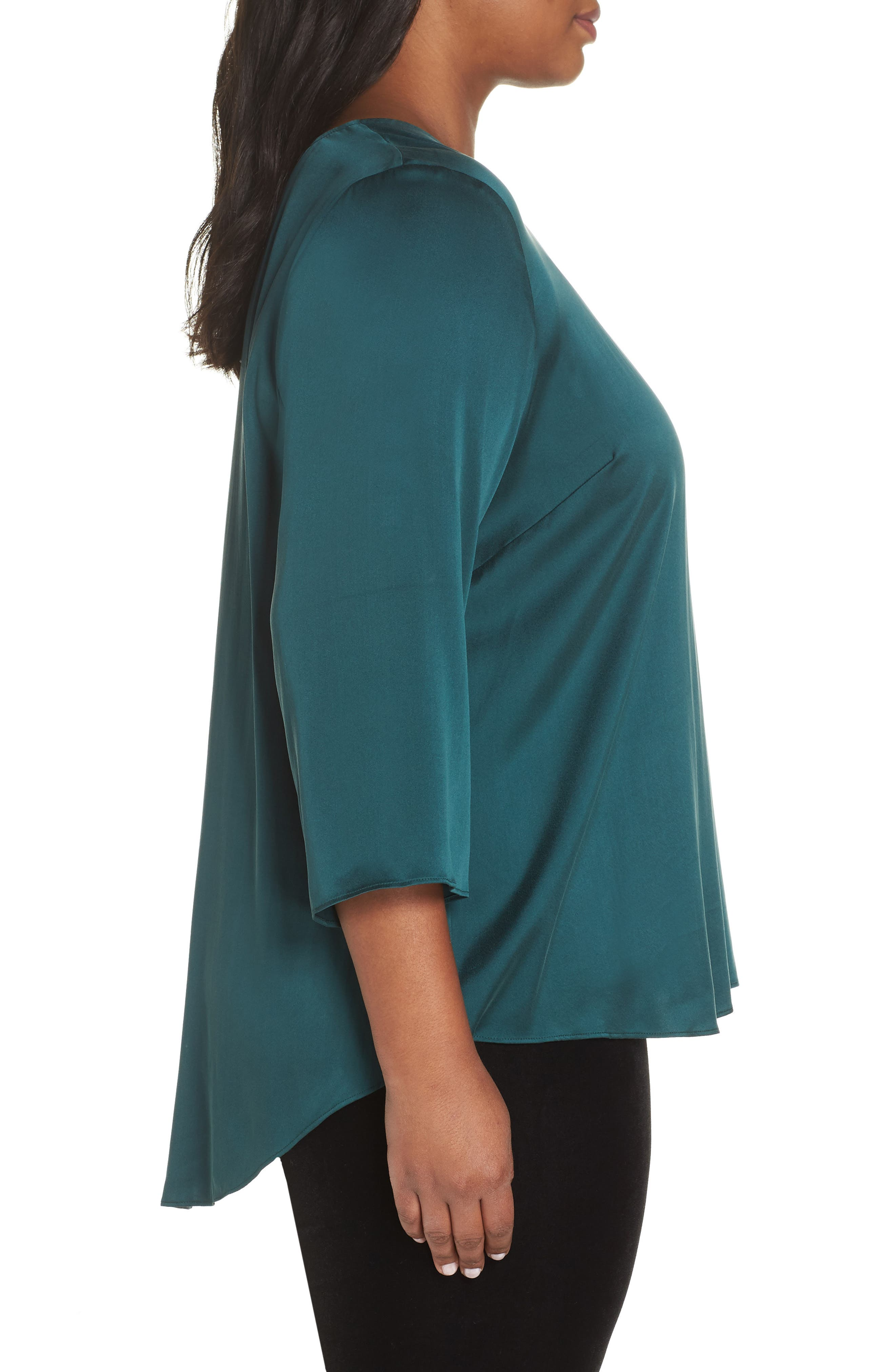 Stretch Silk Top,                             Alternate thumbnail 3, color,                             303