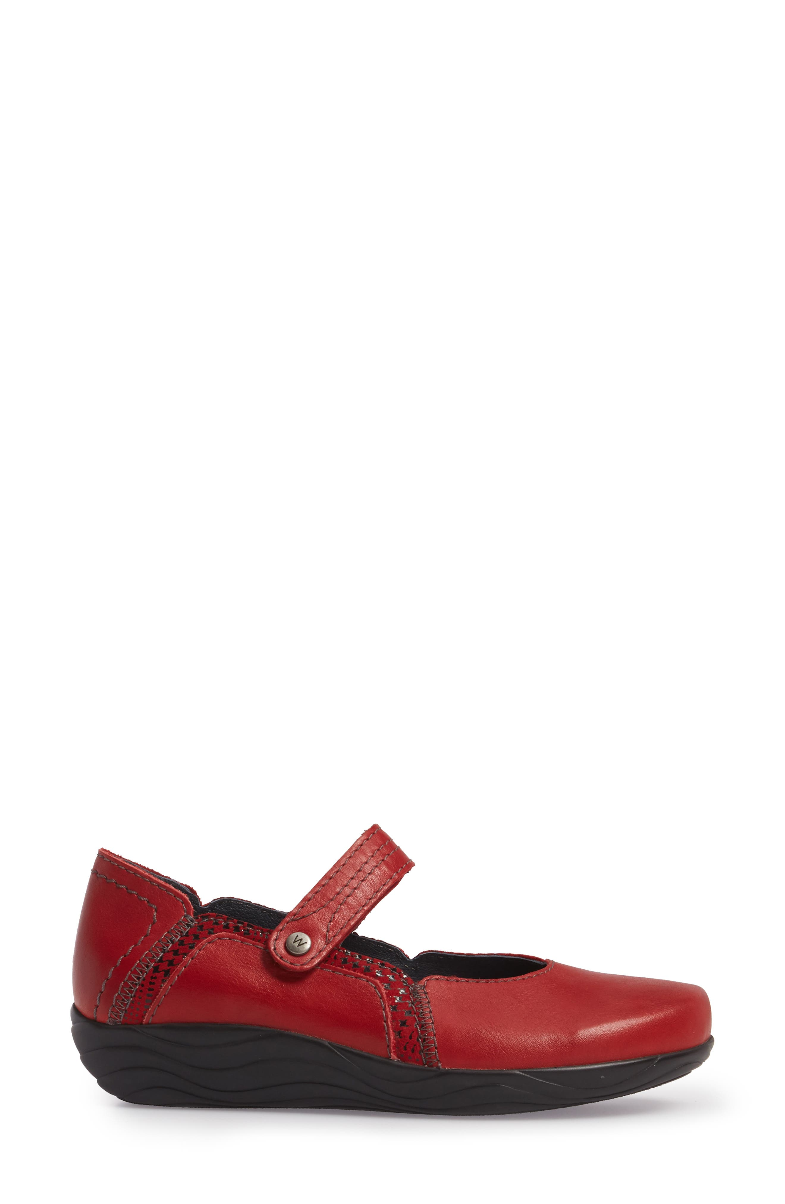 Gila Mary-Jane Flat,                             Alternate thumbnail 3, color,                             RED LEATHER