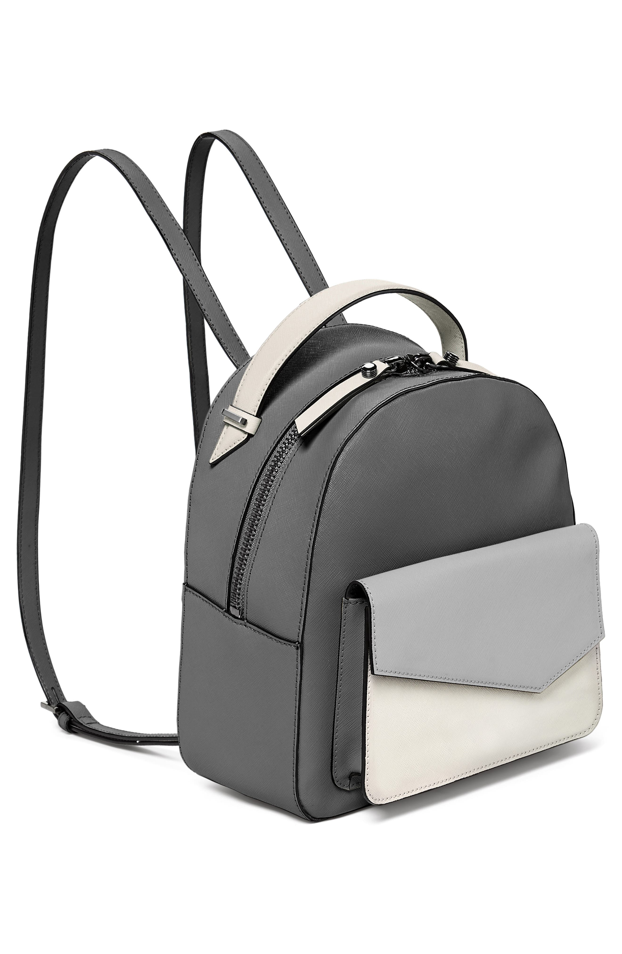 Cobble Hill Leather Backpack,                             Alternate thumbnail 4, color,                             PEWTER COMBO