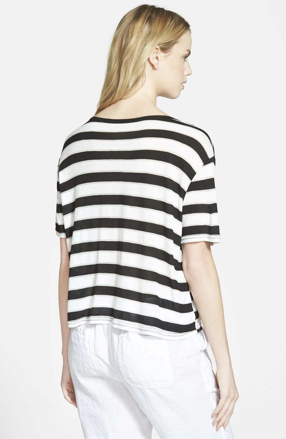 Stripe Short Sleeve Tee,                             Alternate thumbnail 3, color,                             001