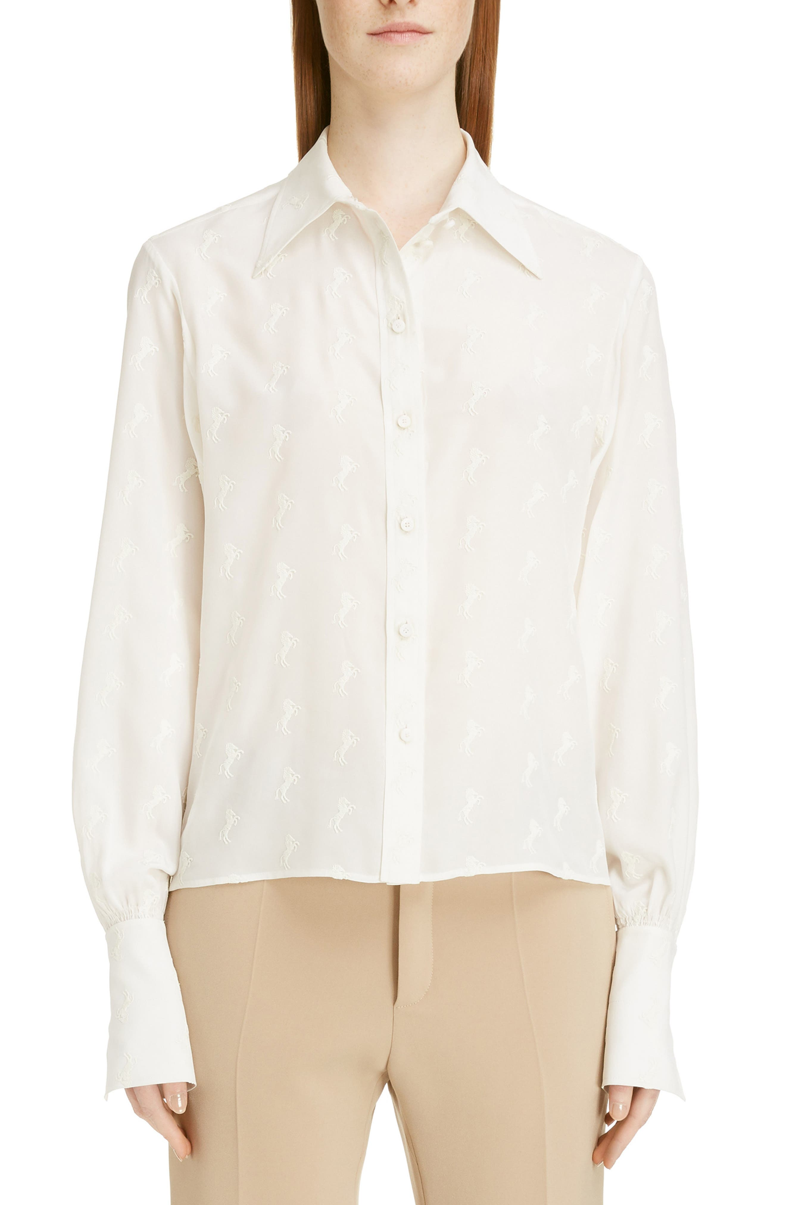 Horse Embroidered Crêpe de Chine Shirt,                         Main,                         color, ICONIC MILK