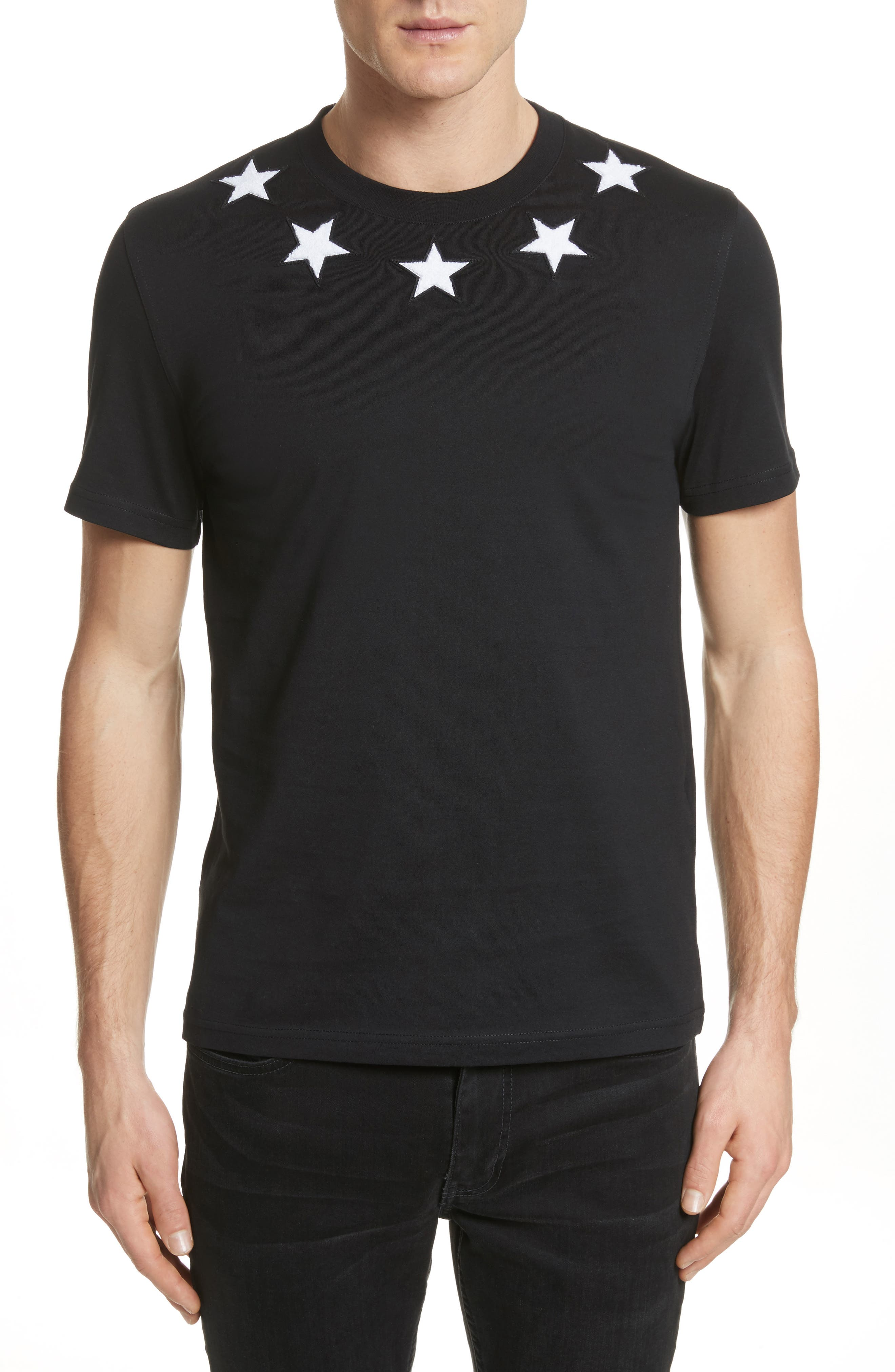 Star Appliqué T-Shirt,                             Main thumbnail 1, color,                             001