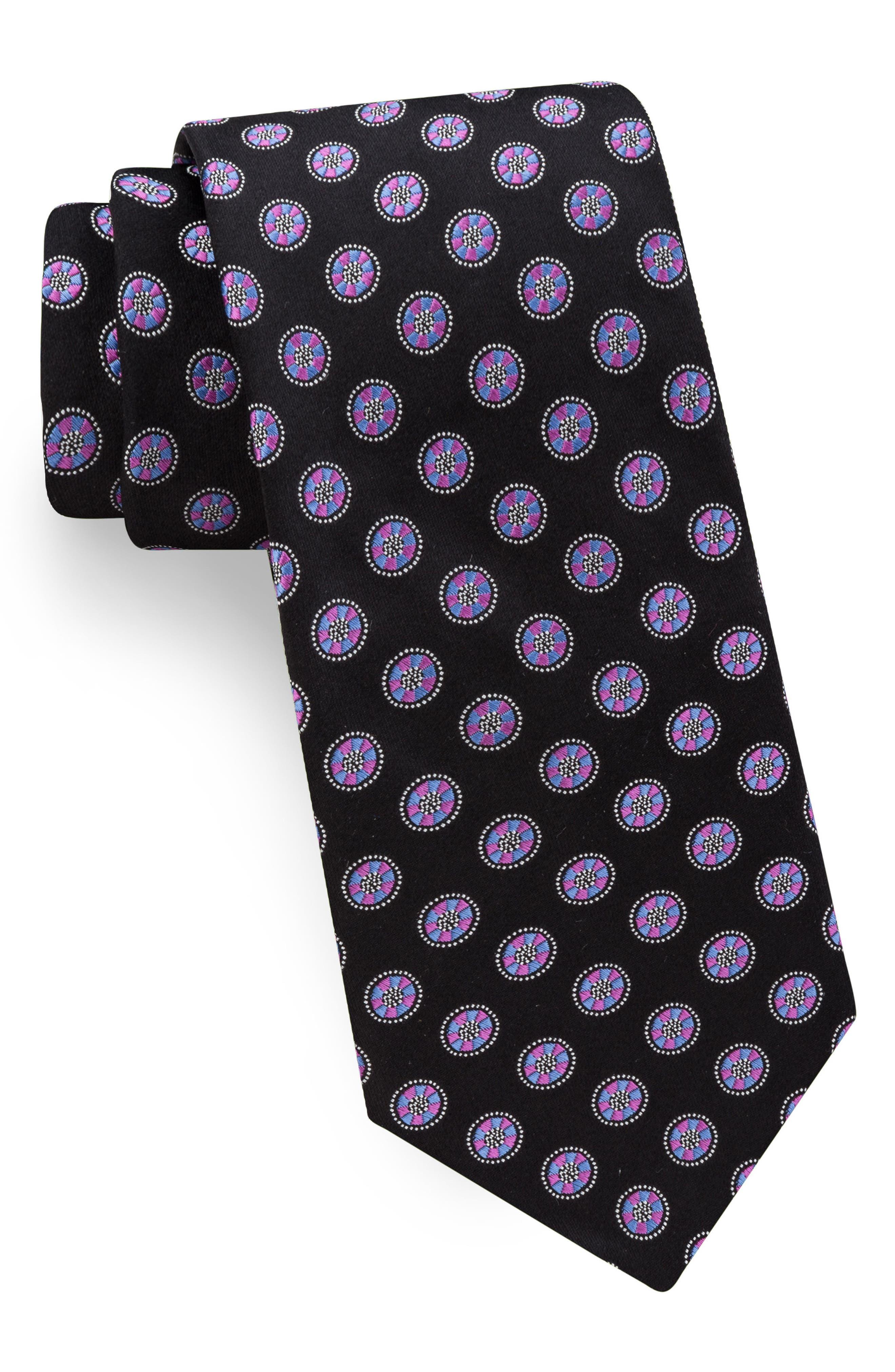 Lifesaver Medallion Silk Tie,                         Main,                         color, 001