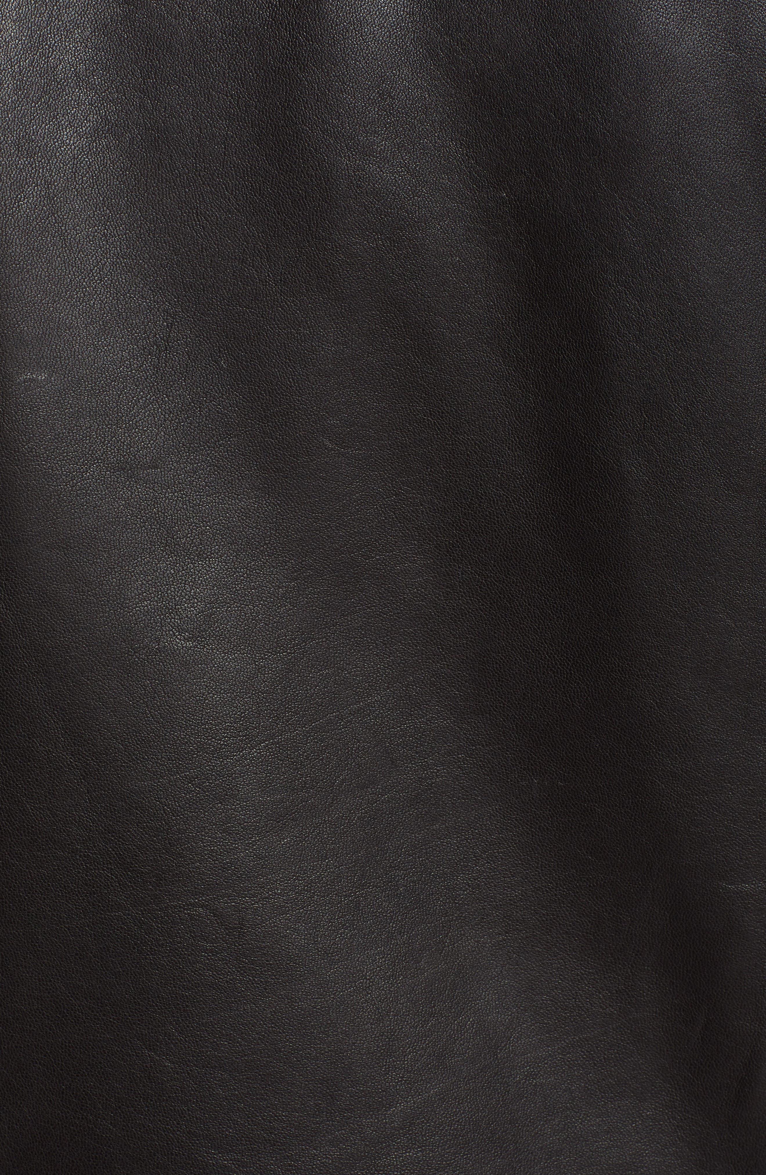 Shrunken Leather Jacket,                             Alternate thumbnail 7, color,                             BLACK