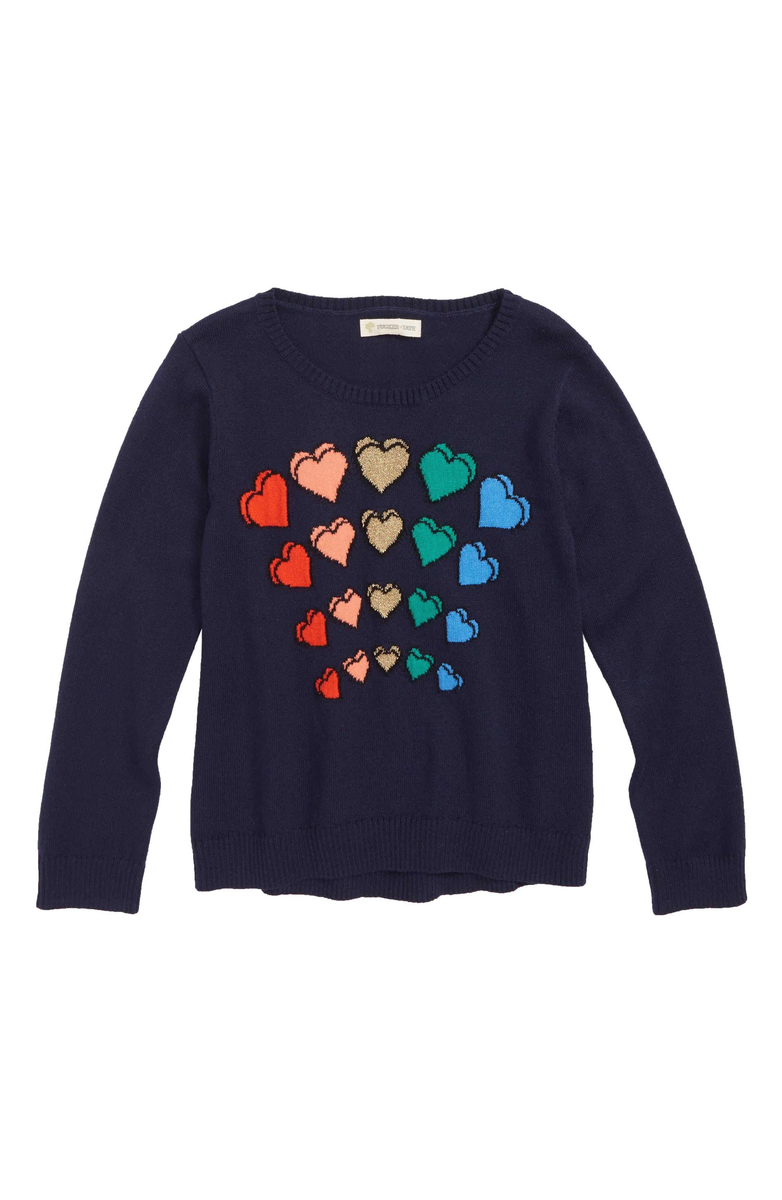 Sparkle Heart Sweater,                             Main thumbnail 1, color,                             NAVY PEACOAT RAINBOW HEARTS