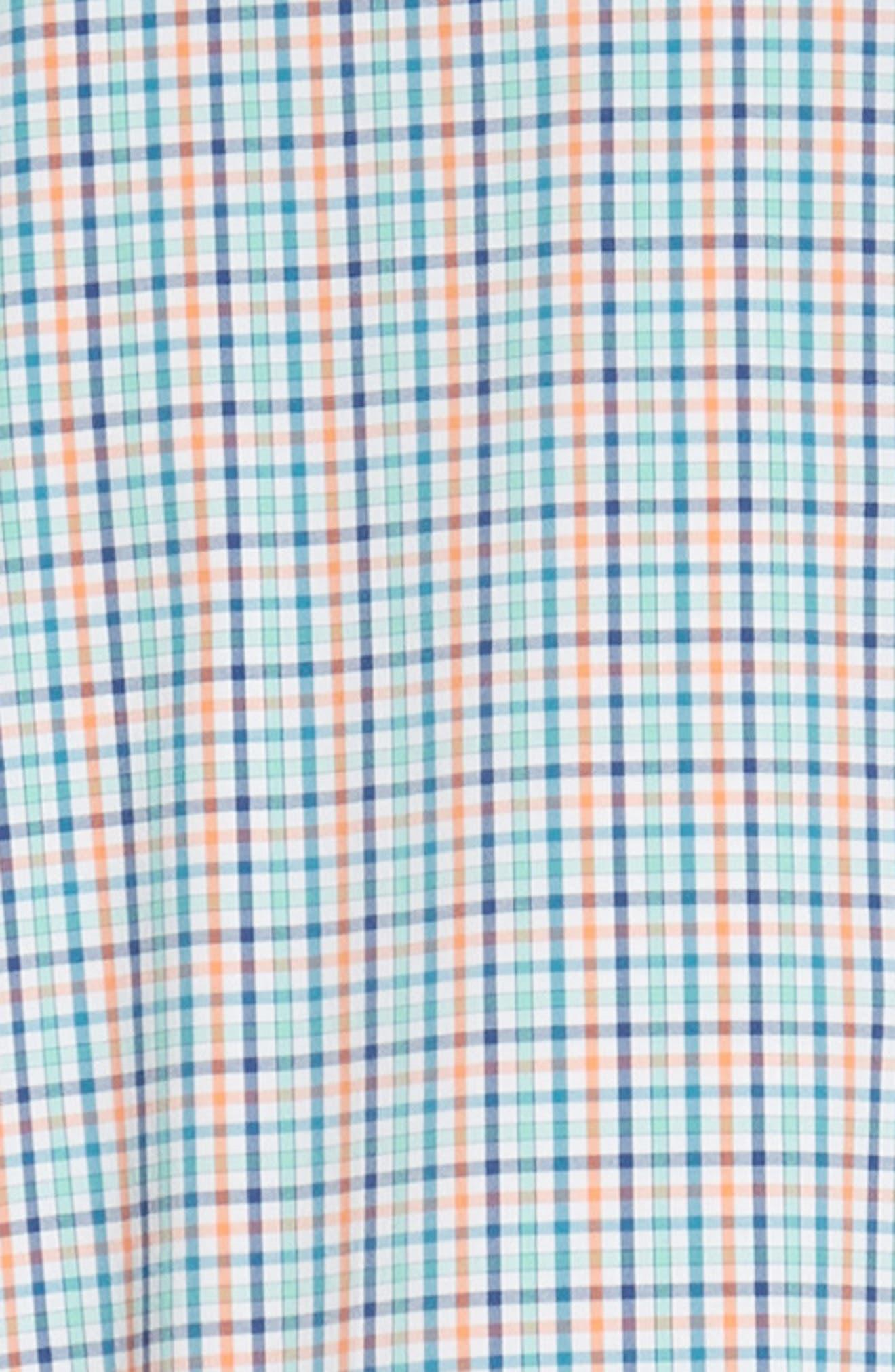 Lawson Regular Fit Tattersall Check Performance Sport Shirt,                             Alternate thumbnail 6, color,                             BLUE
