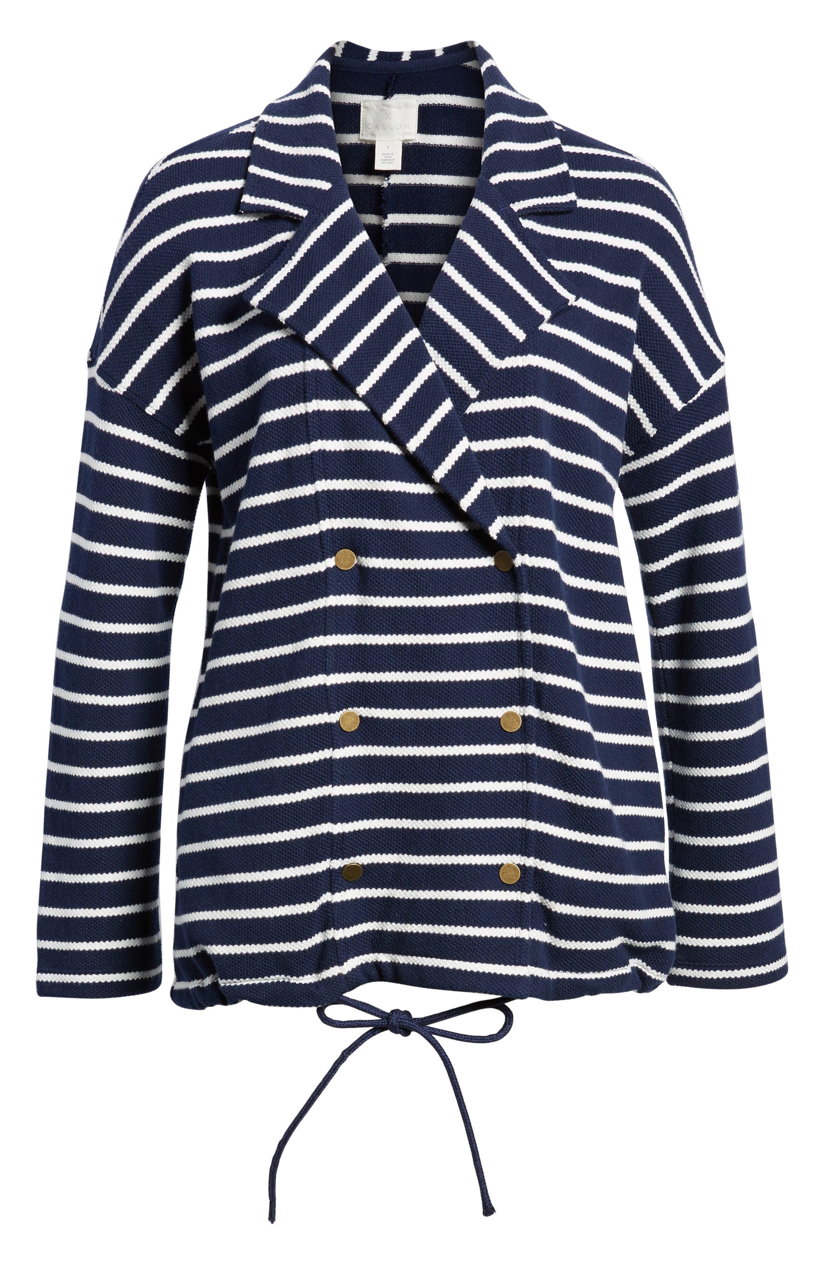 Stripe Knit Drawsting Jacket,                             Alternate thumbnail 5, color,                             410