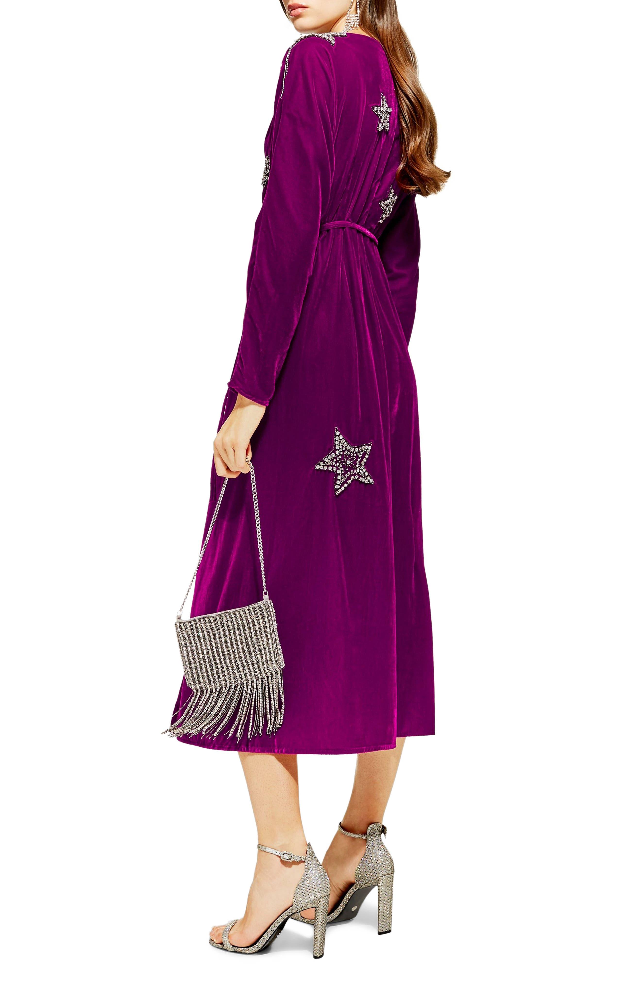 Velvet Embroidered Wrap Dress,                             Alternate thumbnail 2, color,                             540