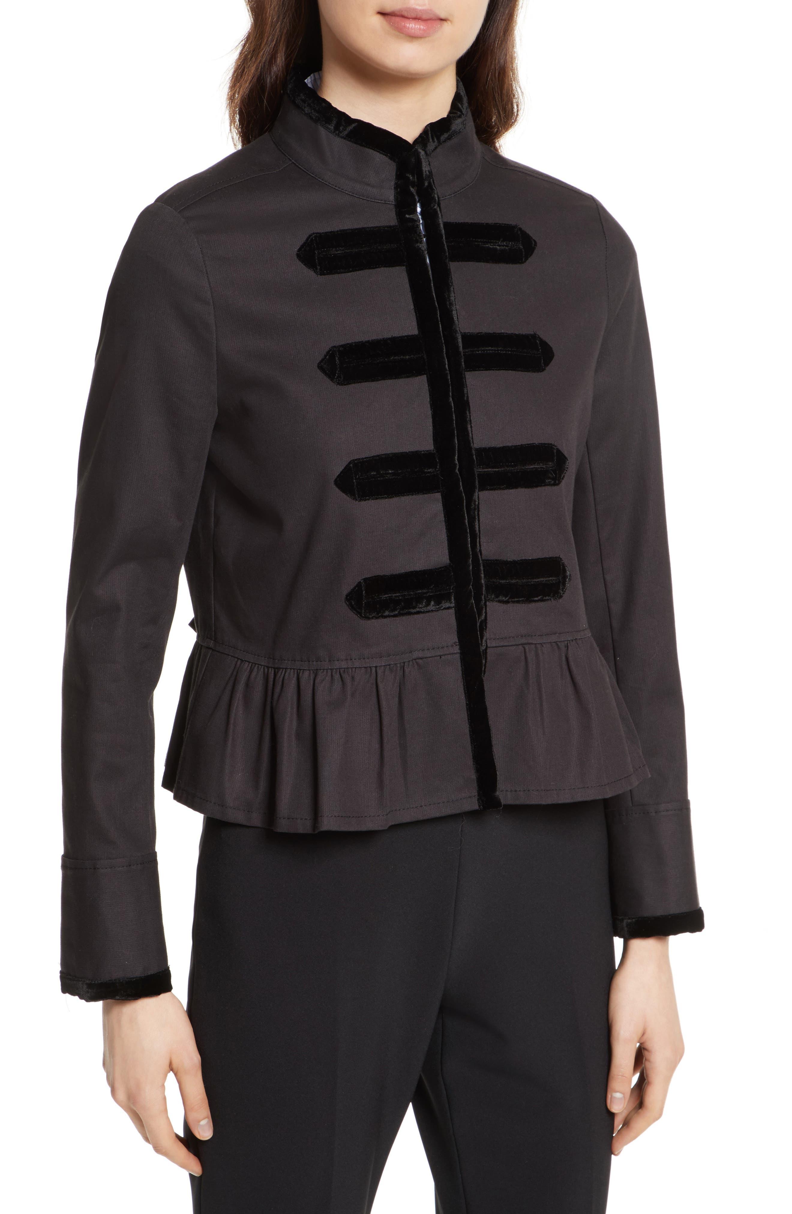 velvet trim military jacket,                             Alternate thumbnail 4, color,                             001