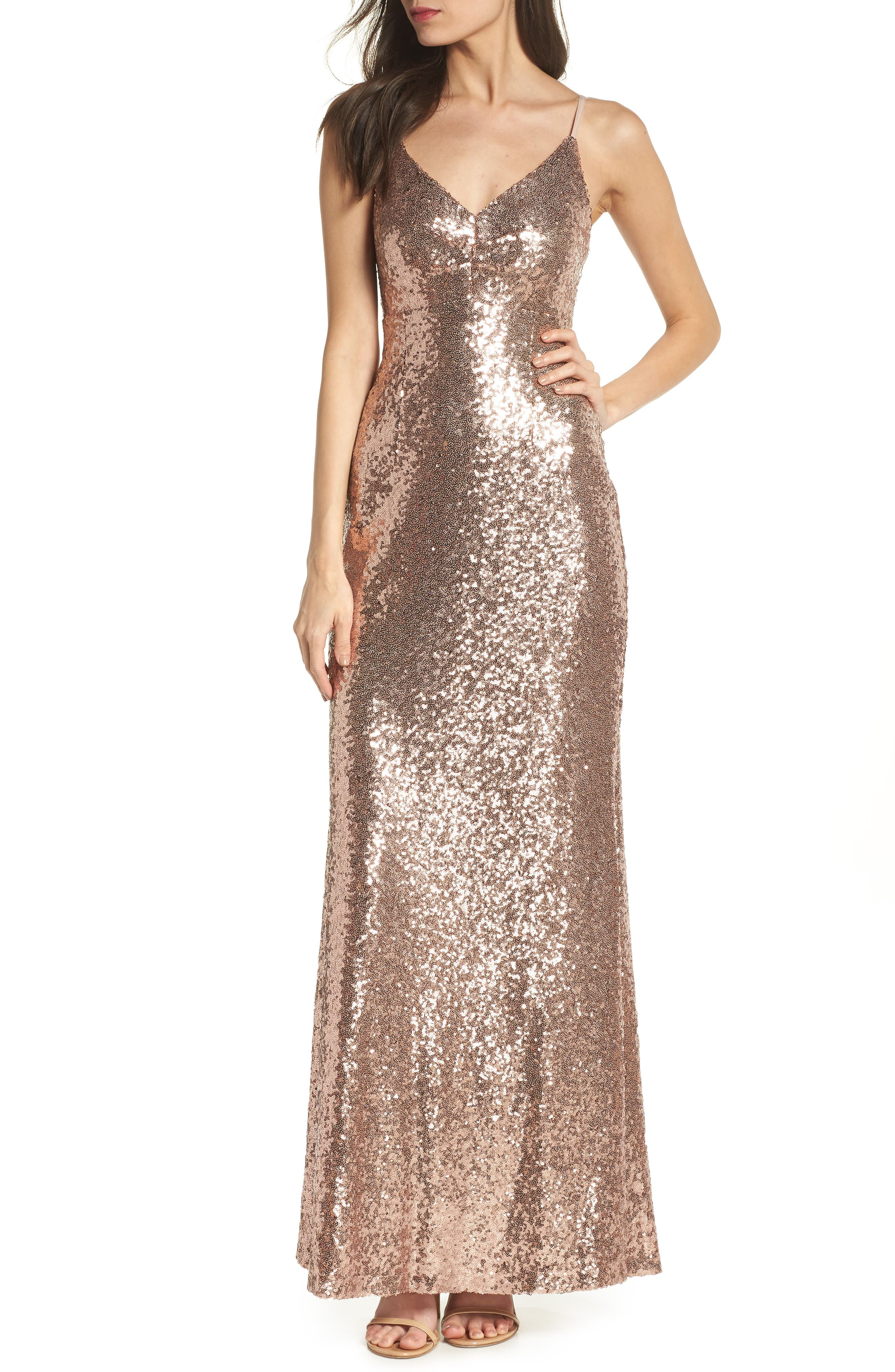 Morgan & Co. Keyhole Back Sequin Gown - Pink
