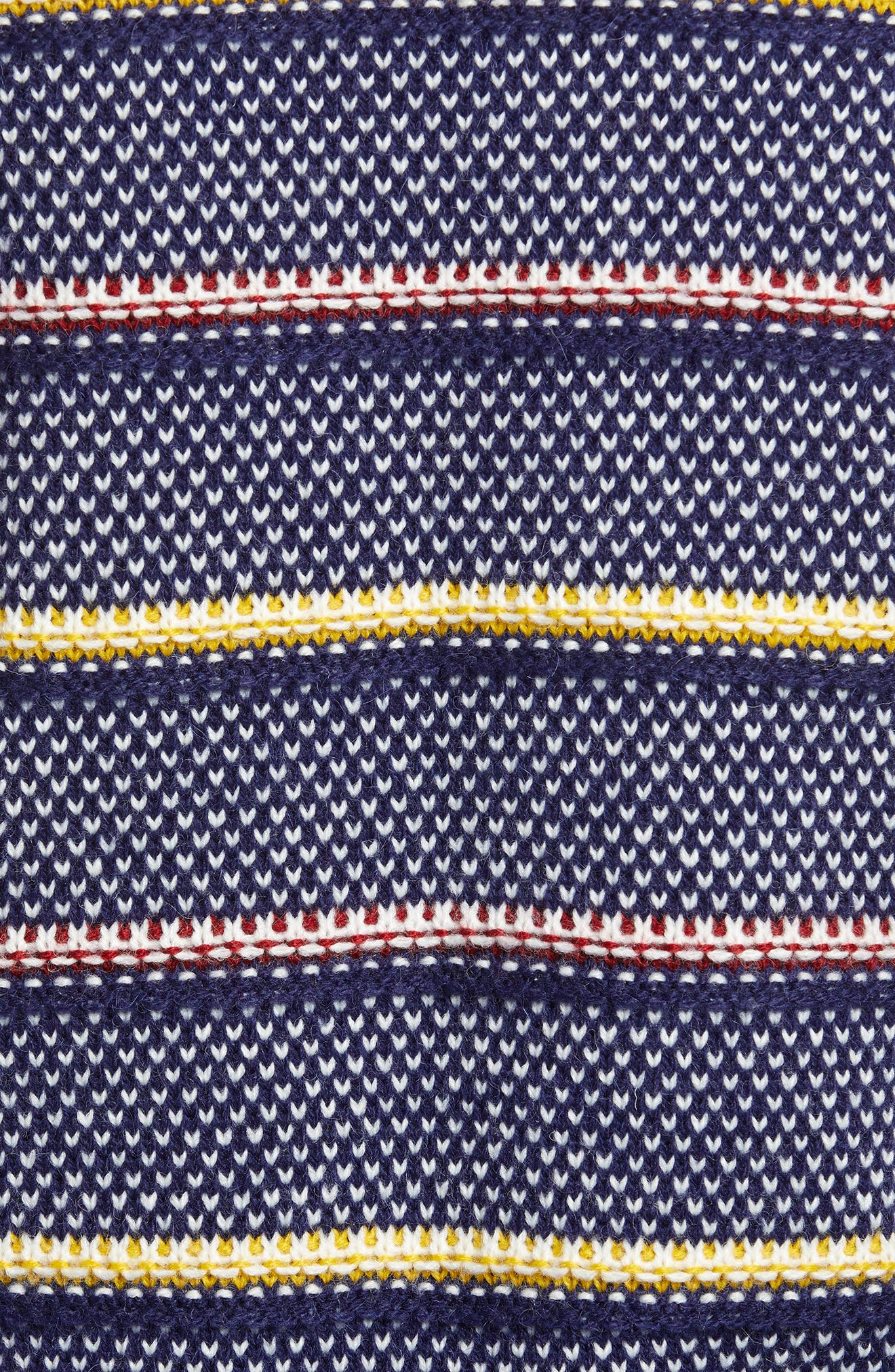 Button Detail Stripe Wool Blend Texture Sweater,                             Alternate thumbnail 5, color,                             NAVY BERET PATTERN