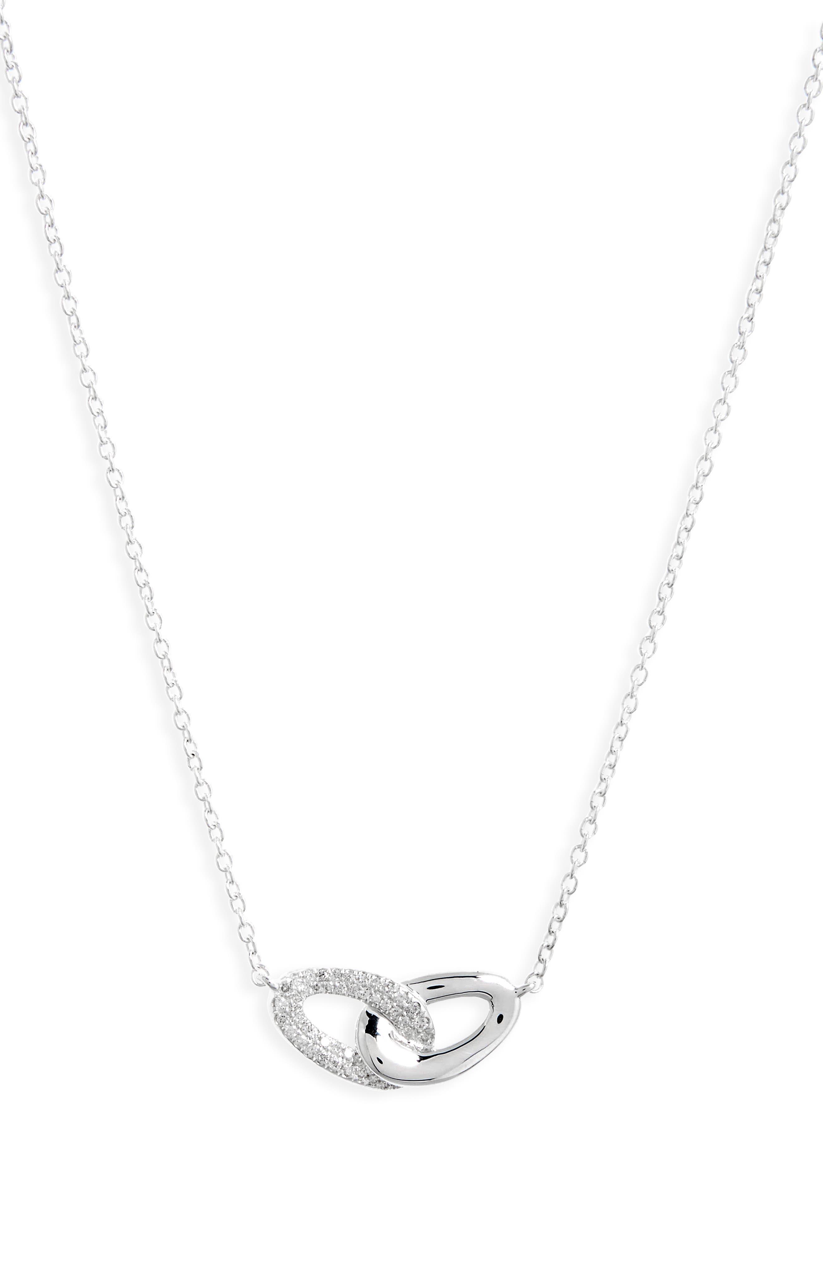Cherish Interlocking Pendant Necklace,                         Main,                         color, SILVER