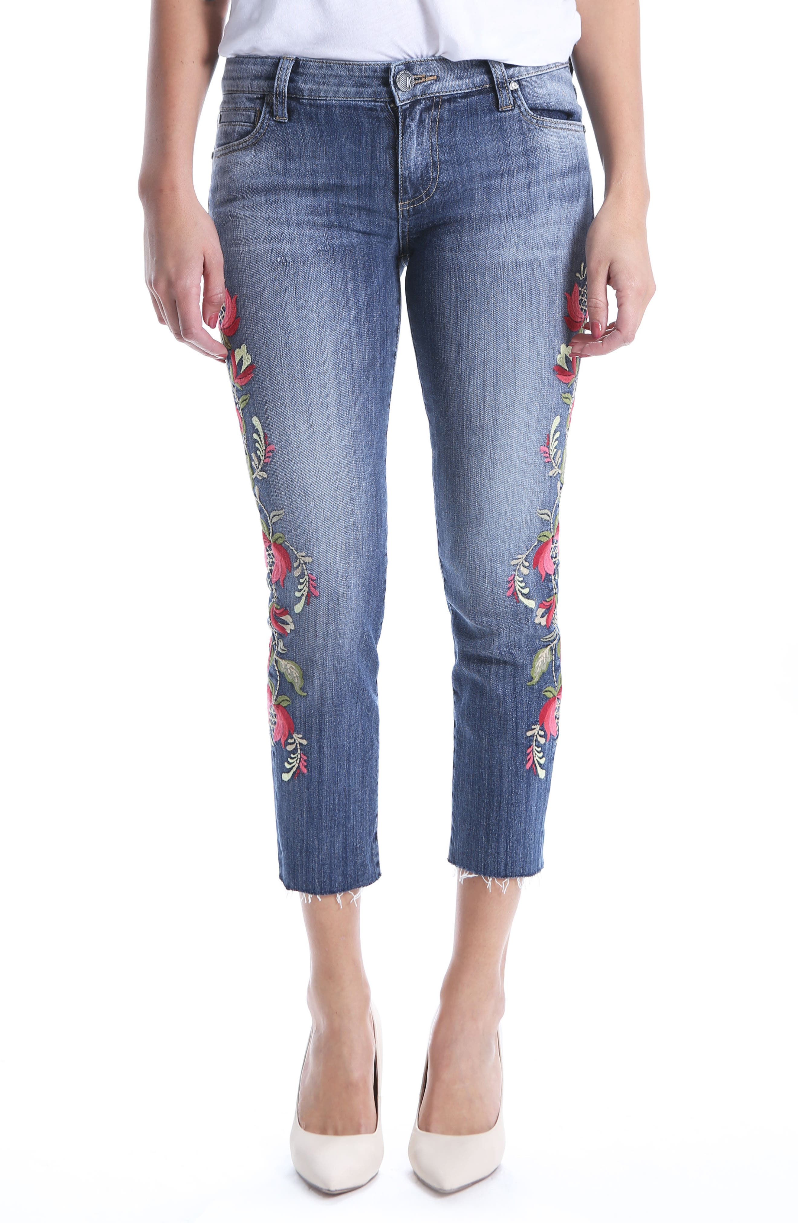 Reese Embroidered Straight Leg Raw Hem Jeans,                             Main thumbnail 1, color,