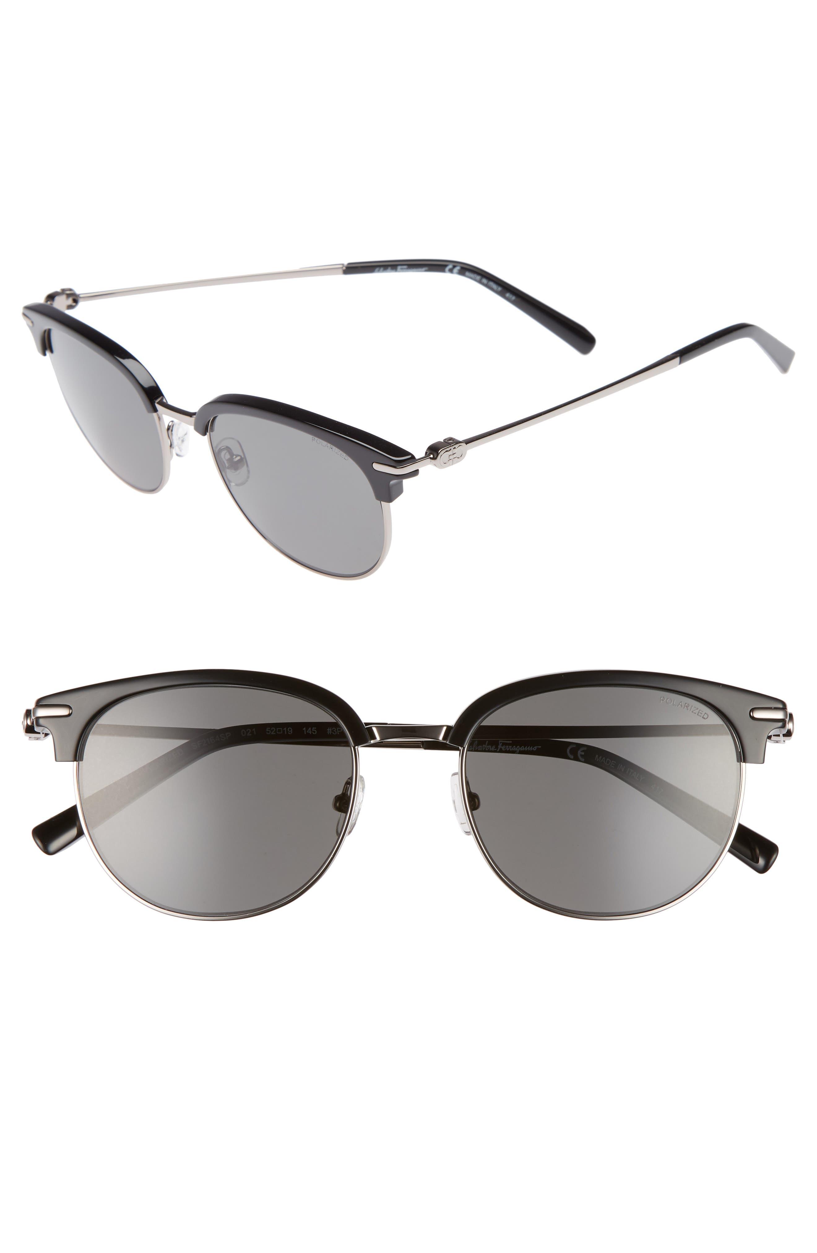 Double Gancio 52mm Polarized Sunglasses,                             Main thumbnail 1, color,                             BLACK/ RUTHENIUM