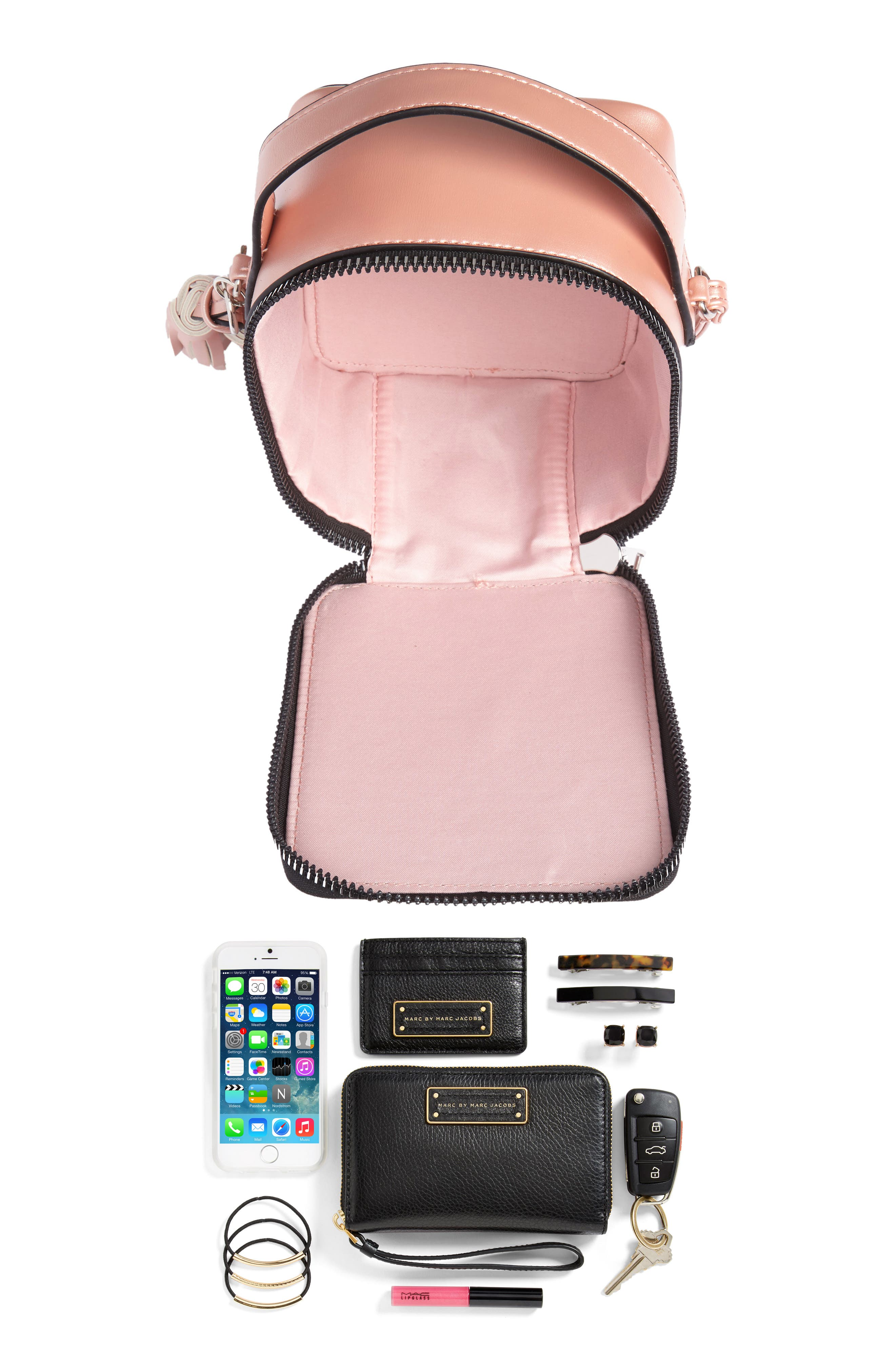 Tassel Metallic Faux Leather Box Bag,                             Alternate thumbnail 7, color,                             710