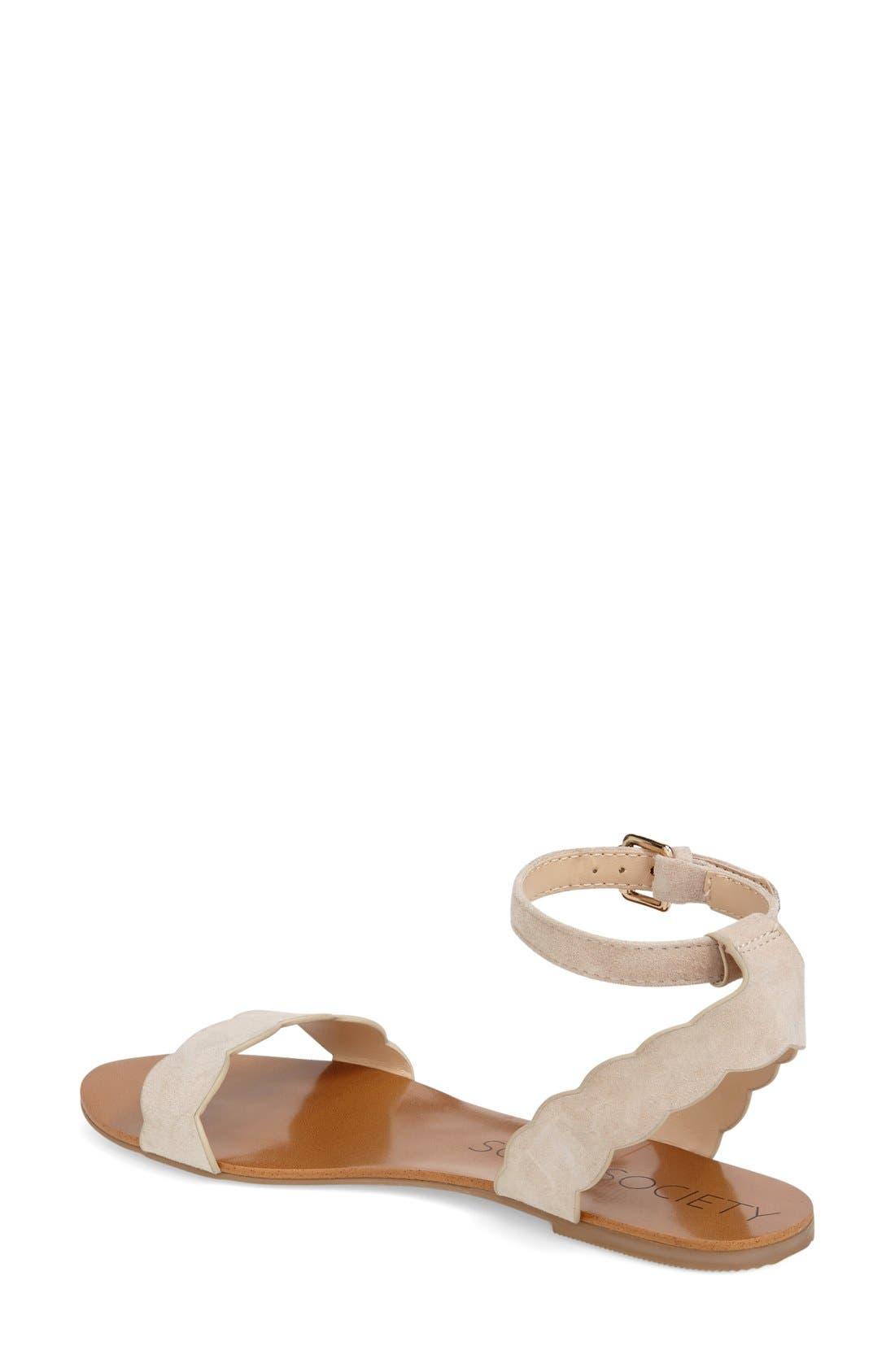 'Odette' Scalloped Ankle Strap Flat Sandal,                             Alternate thumbnail 19, color,