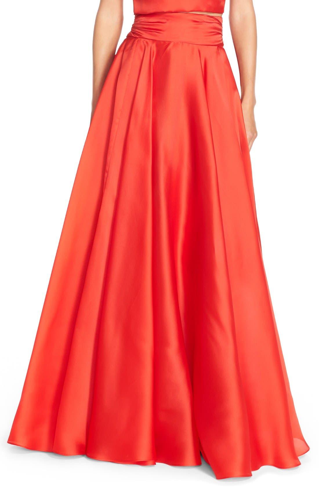 MILLY,                             Silk Satin Bow Back Ball Skirt,                             Main thumbnail 1, color,                             650