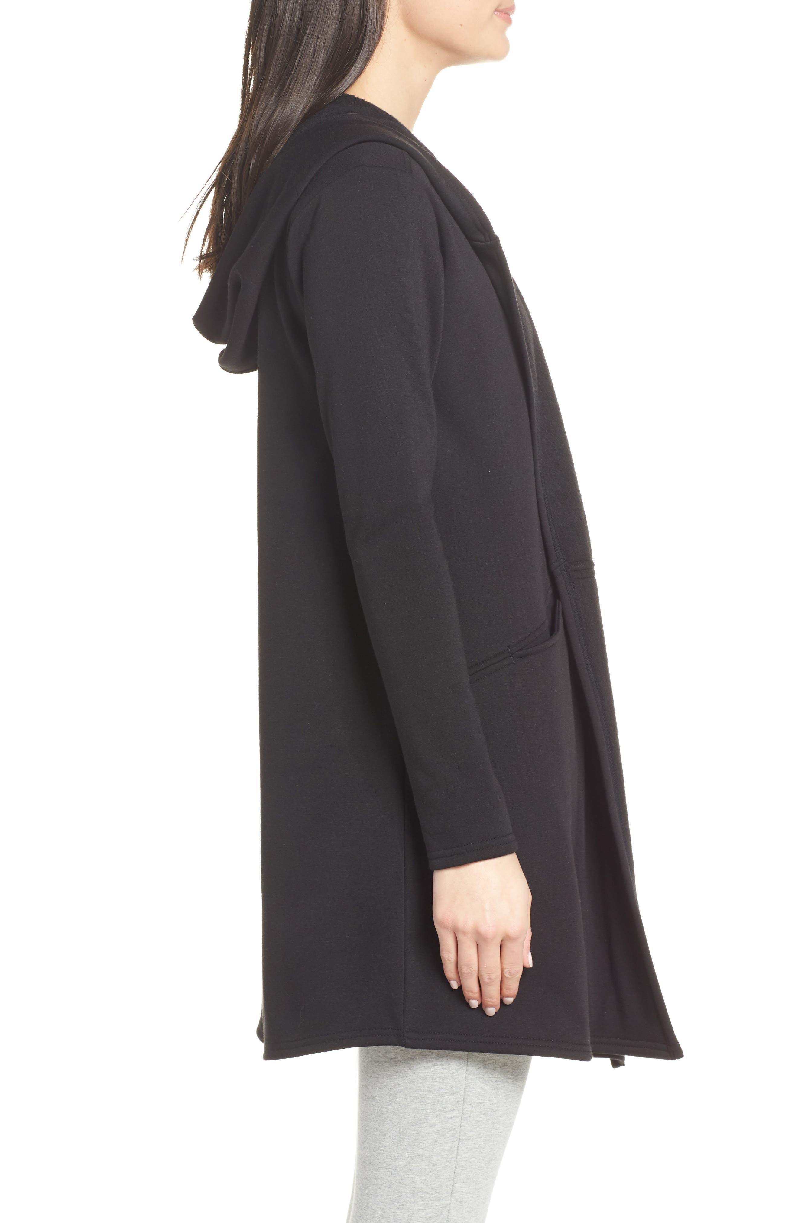 ZELLA,                             Plush Lined Wrap Hooded Jacket,                             Alternate thumbnail 3, color,                             001