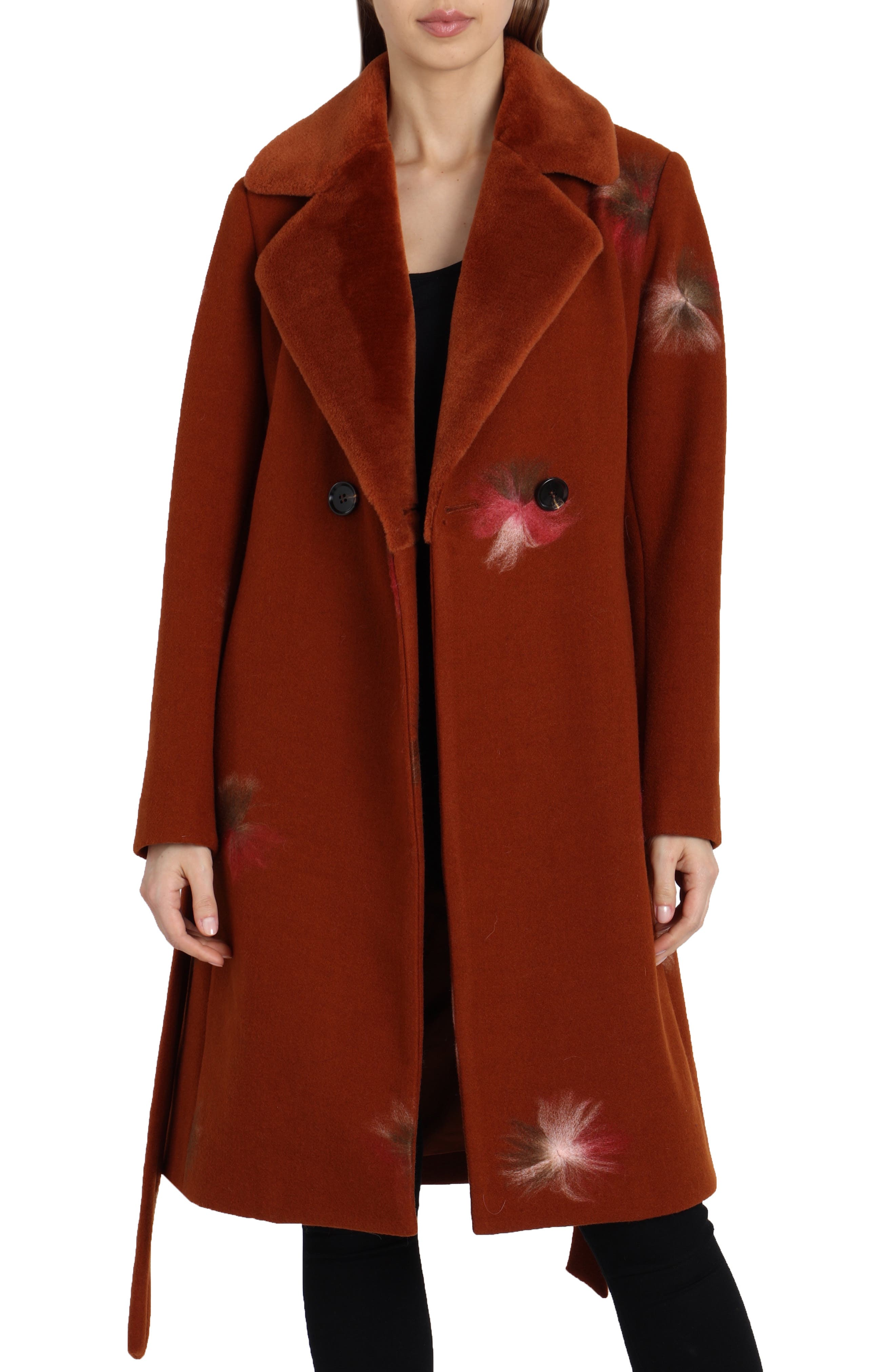 BADGLEY MISCHKA COLLECTION,                             Badgley Mischka Felted Embroidery Wool Blend Coat,                             Main thumbnail 1, color,                             801
