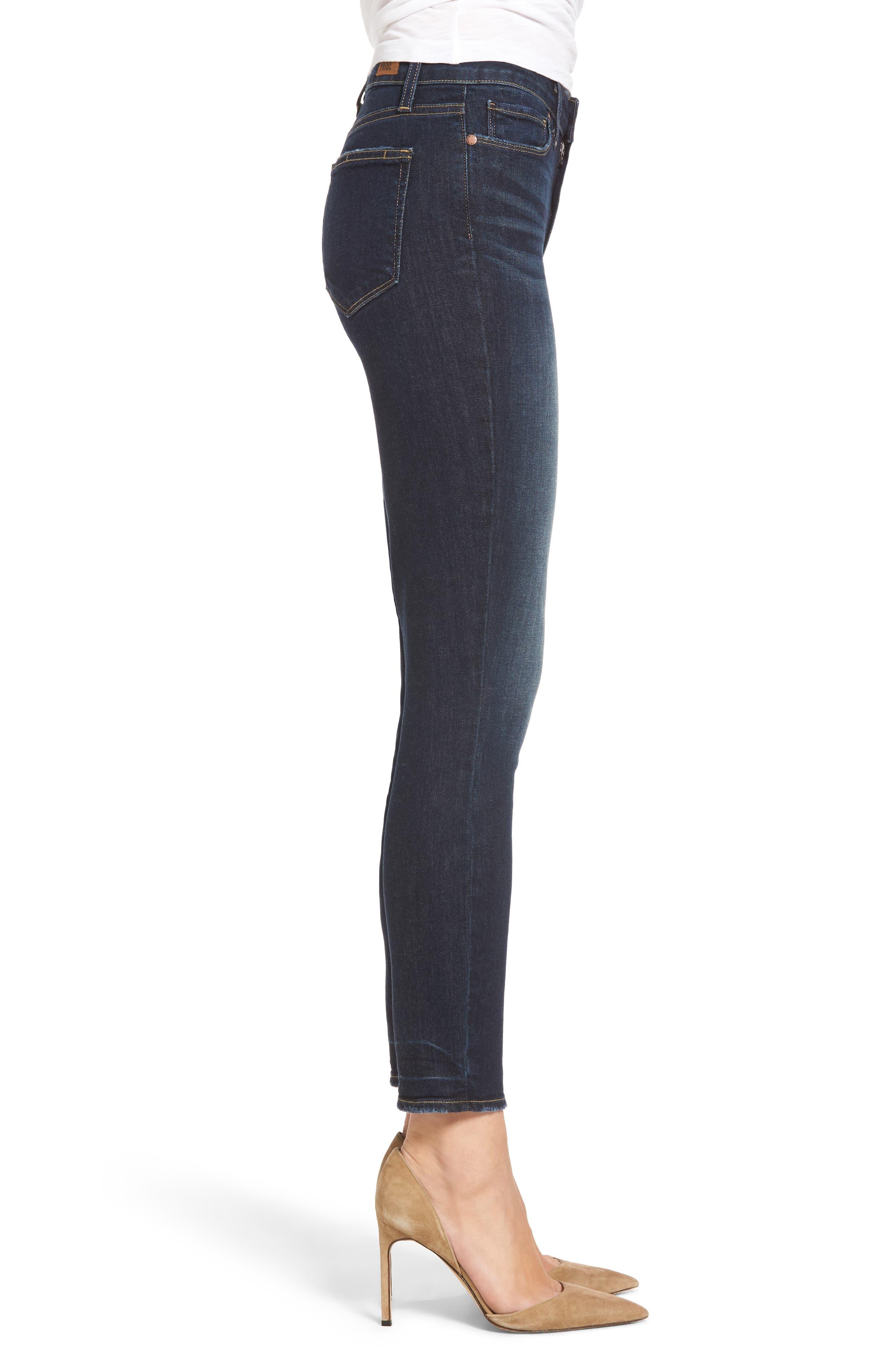 Hoxton Crop High Waist Skinny Jeans,                             Alternate thumbnail 3, color,                             400