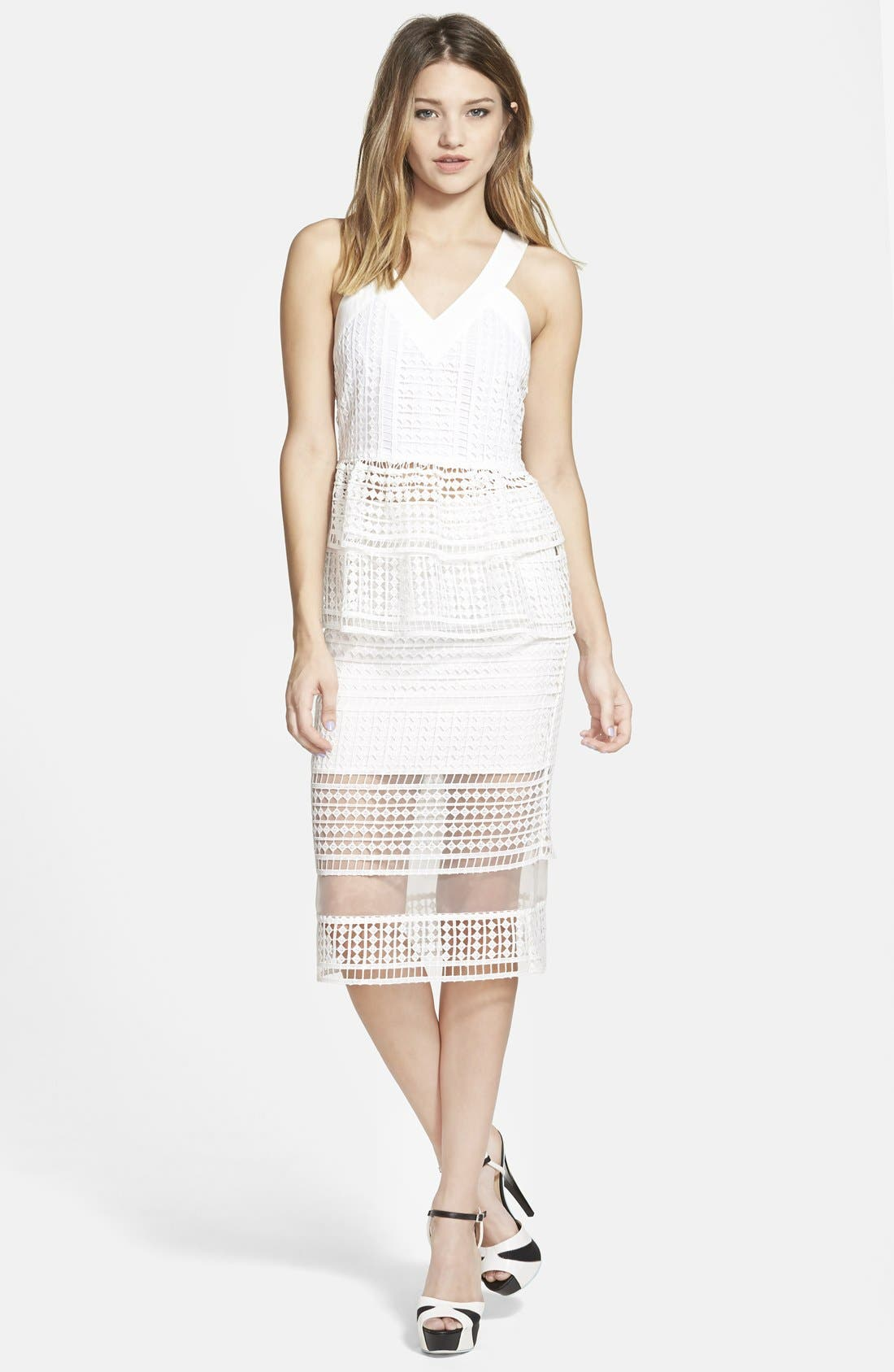 Lace Overlay Pencil Skirt,                             Alternate thumbnail 2, color,                             900