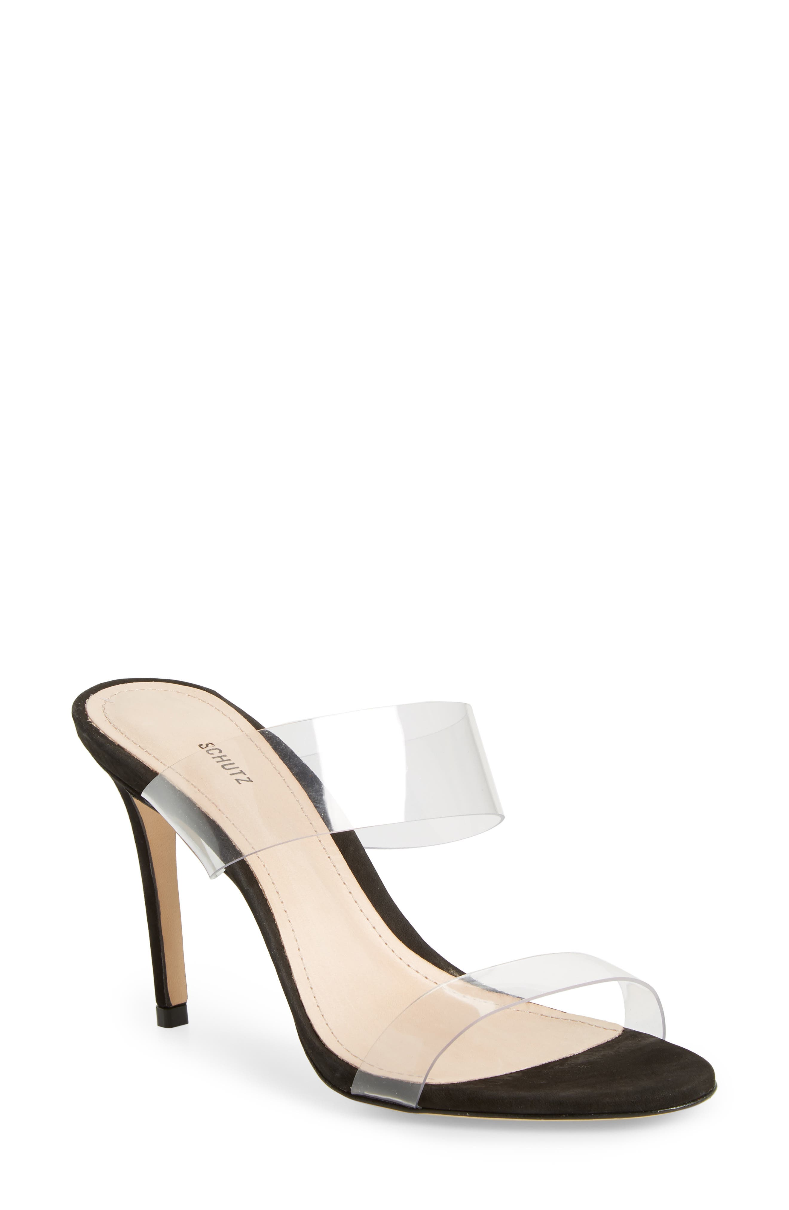 Ariella Sandal,                         Main,                         color, BLACK/TRANSPARENT VINYL FABRIC