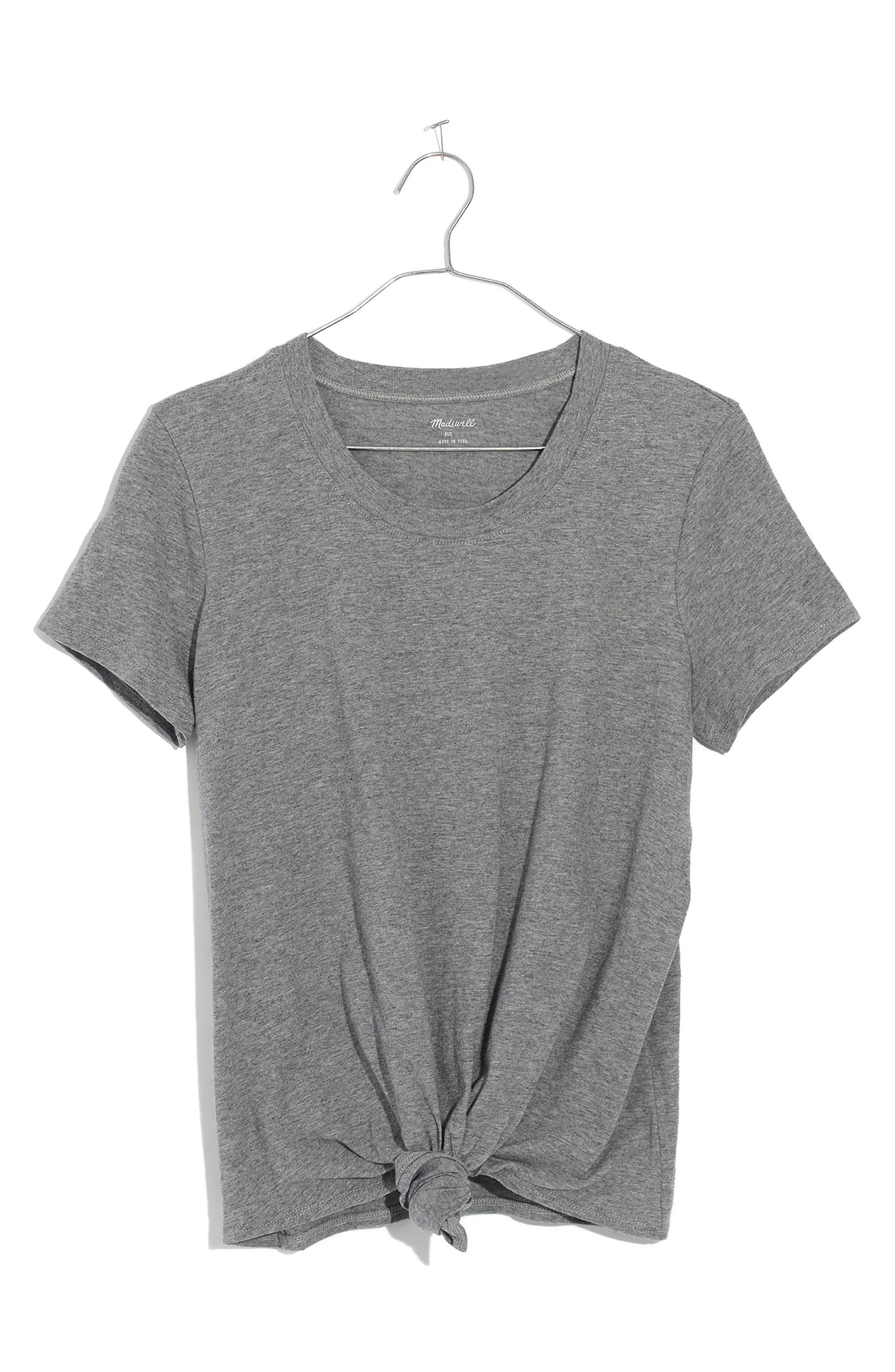 Knot Front Tee,                             Alternate thumbnail 7, color,                             HEATHER SHALE