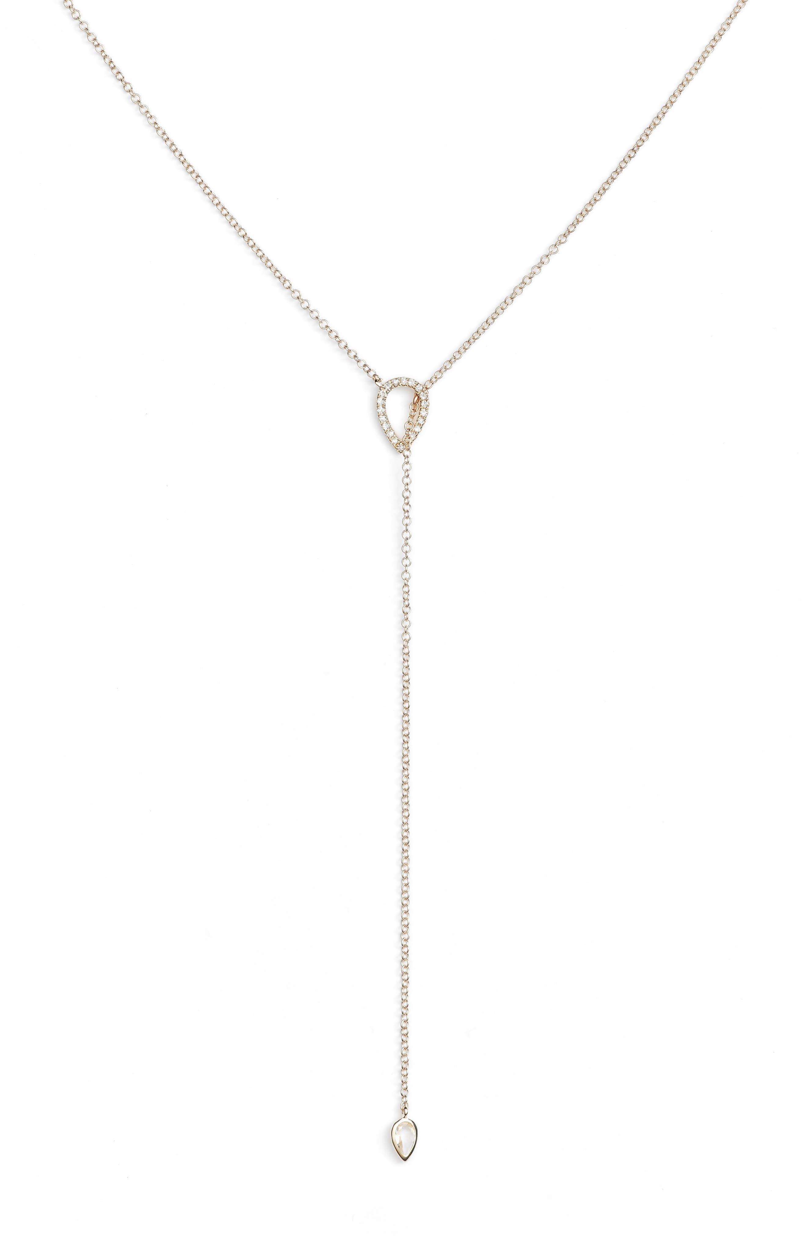 Teardrop Diamond Lariat Necklace,                             Main thumbnail 1, color,                             YELLOW GOLD