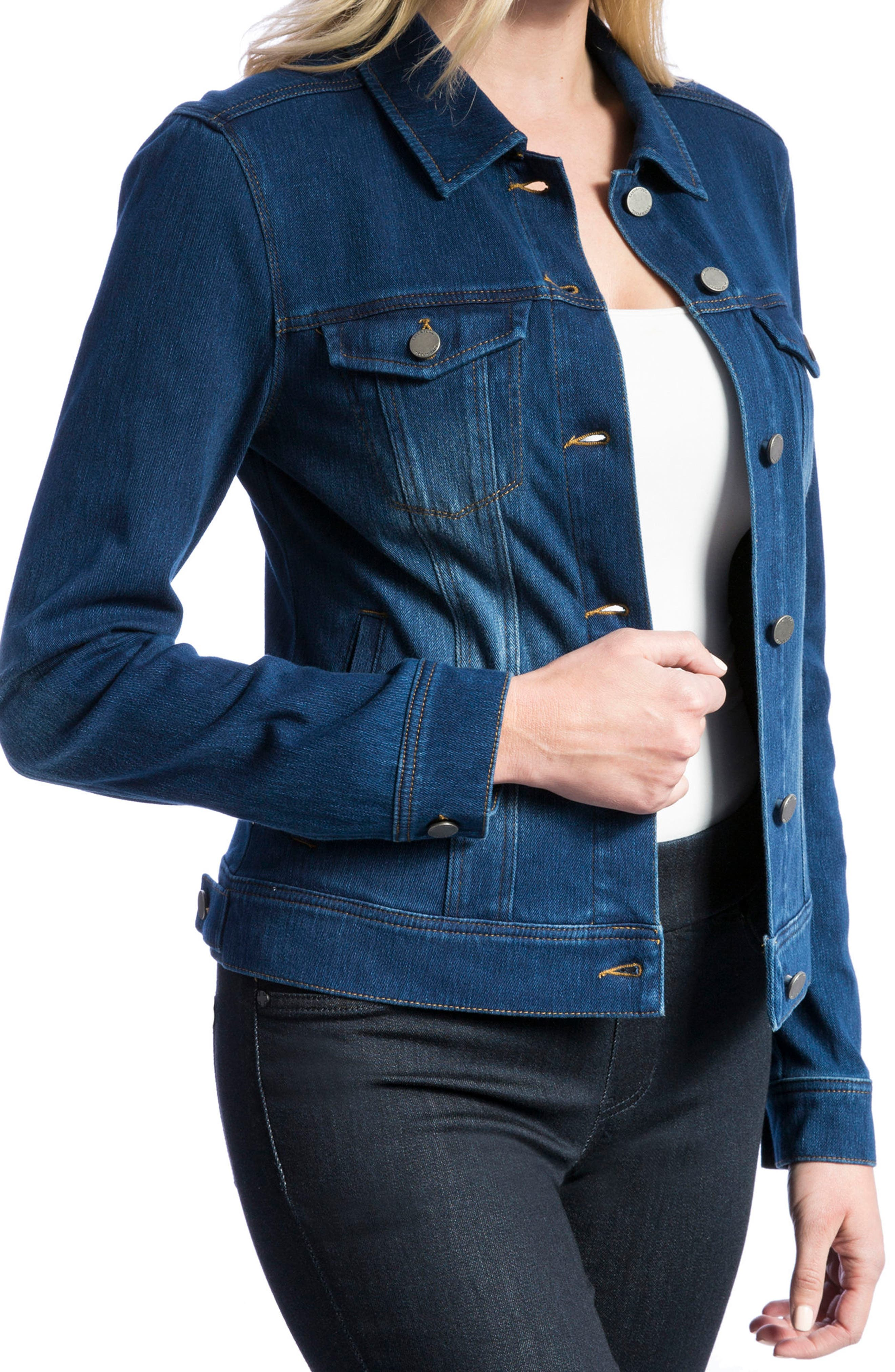 Knit Denim Jacket,                             Alternate thumbnail 3, color,                             ADMIRAL BLUE