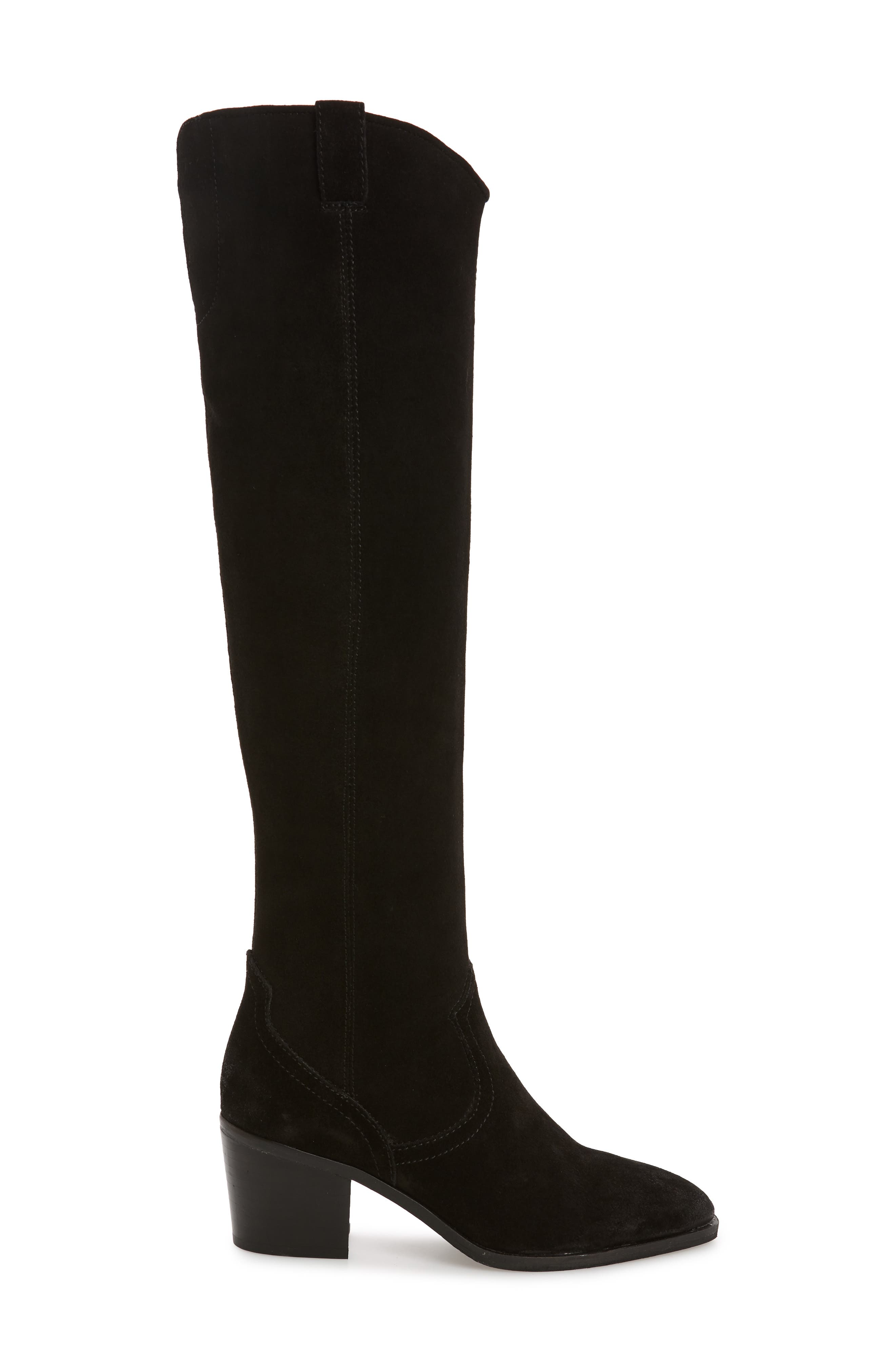 Delano Over the Knee Boot,                             Alternate thumbnail 3, color,                             BLACK LEATHER