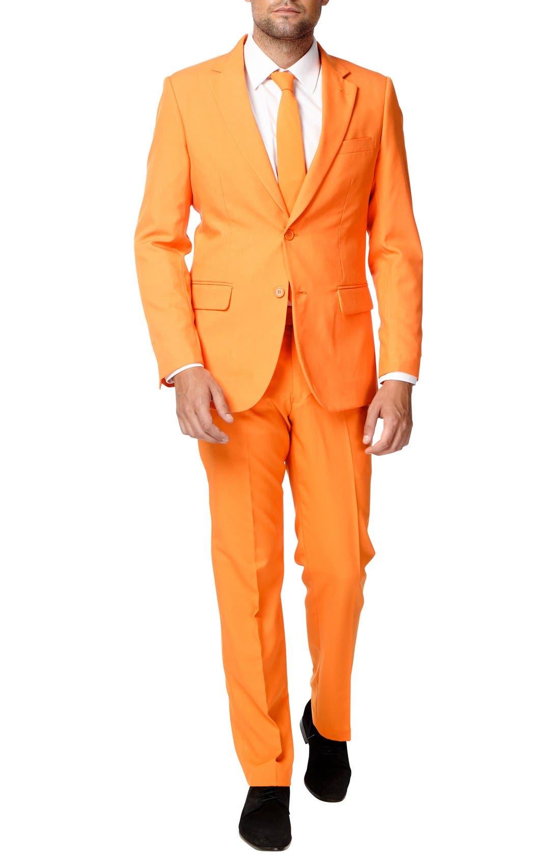 'The Orange' Trim Fit Two-Piece Suit with Tie,                             Alternate thumbnail 4, color,