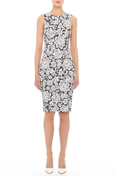 Stretch Cady Lace Print Sheath Dress, video thumbnail