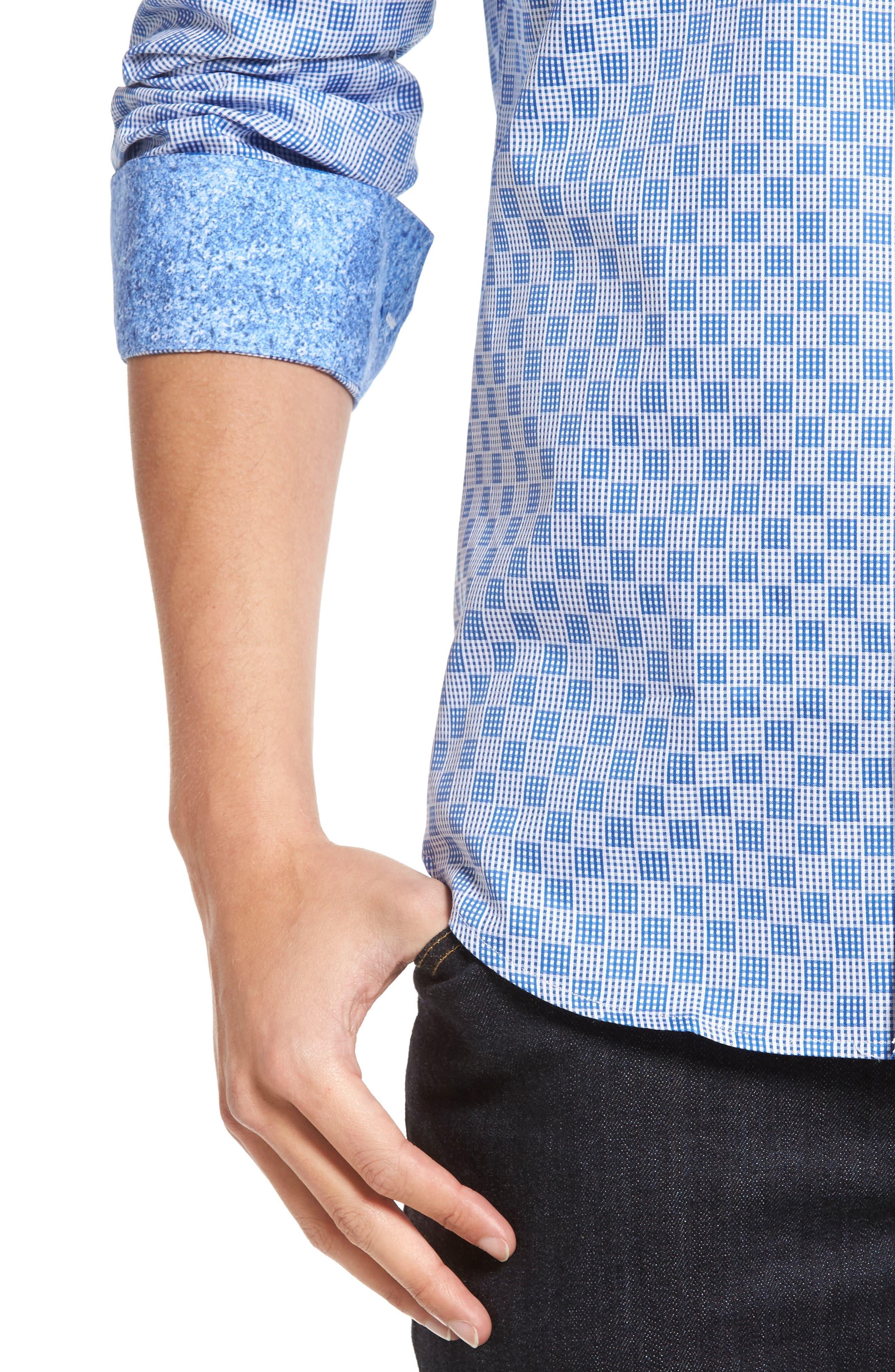 Shaped Fit Check Sport Shirt,                             Alternate thumbnail 4, color,                             422