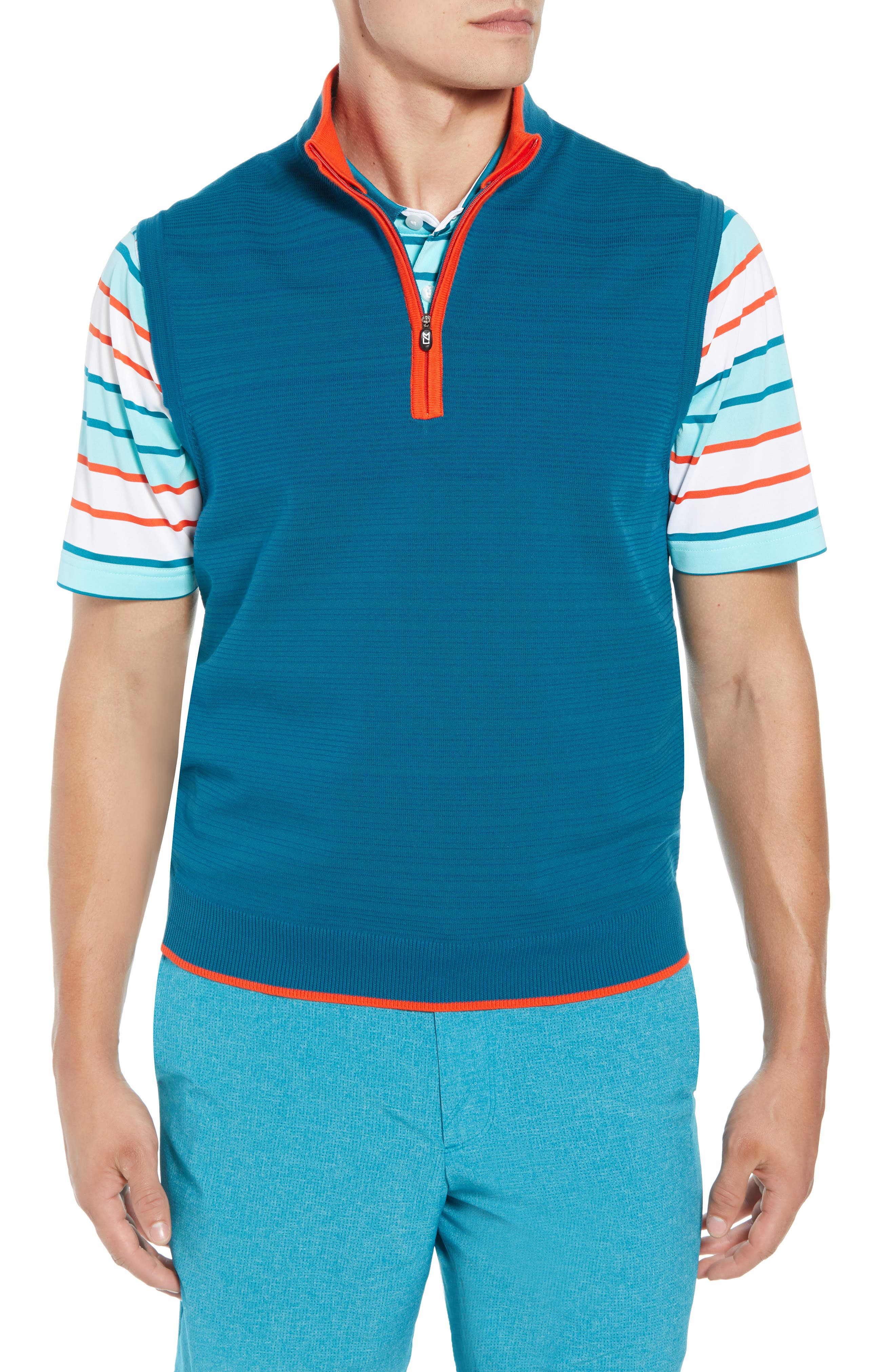 Impact Half Zip Sweater Vest,                         Main,                         color, AQUATIC