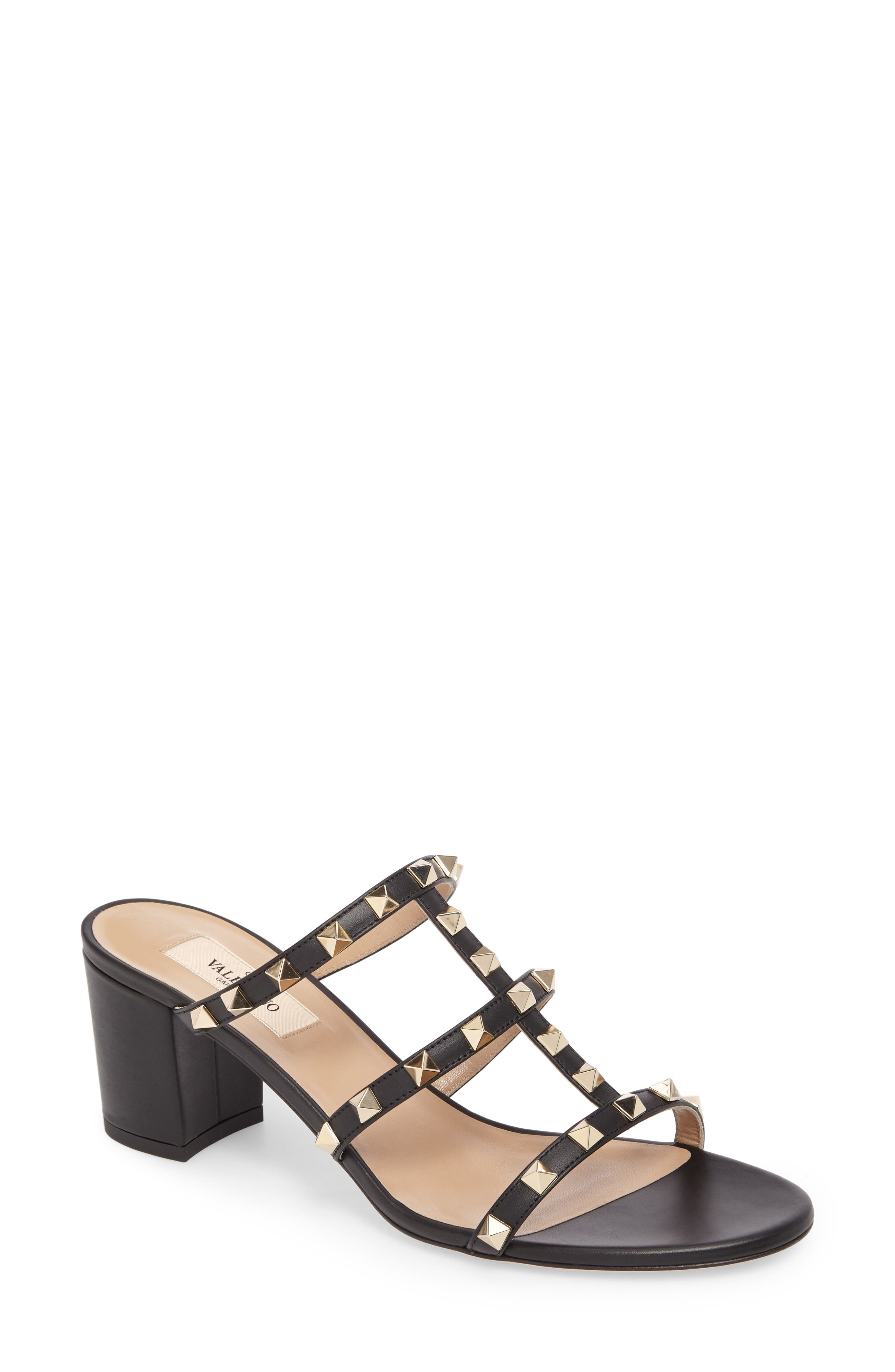 Rockstud Slide Sandal,                             Main thumbnail 1, color,                             002