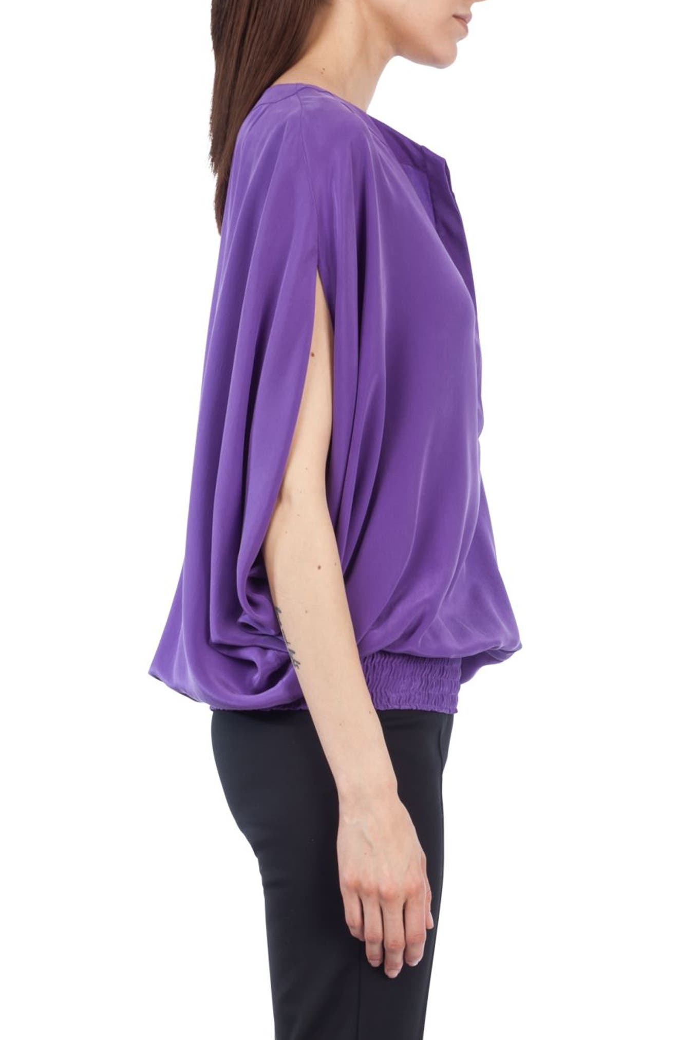 Batwing Silk Blouse,                             Alternate thumbnail 3, color,                             500