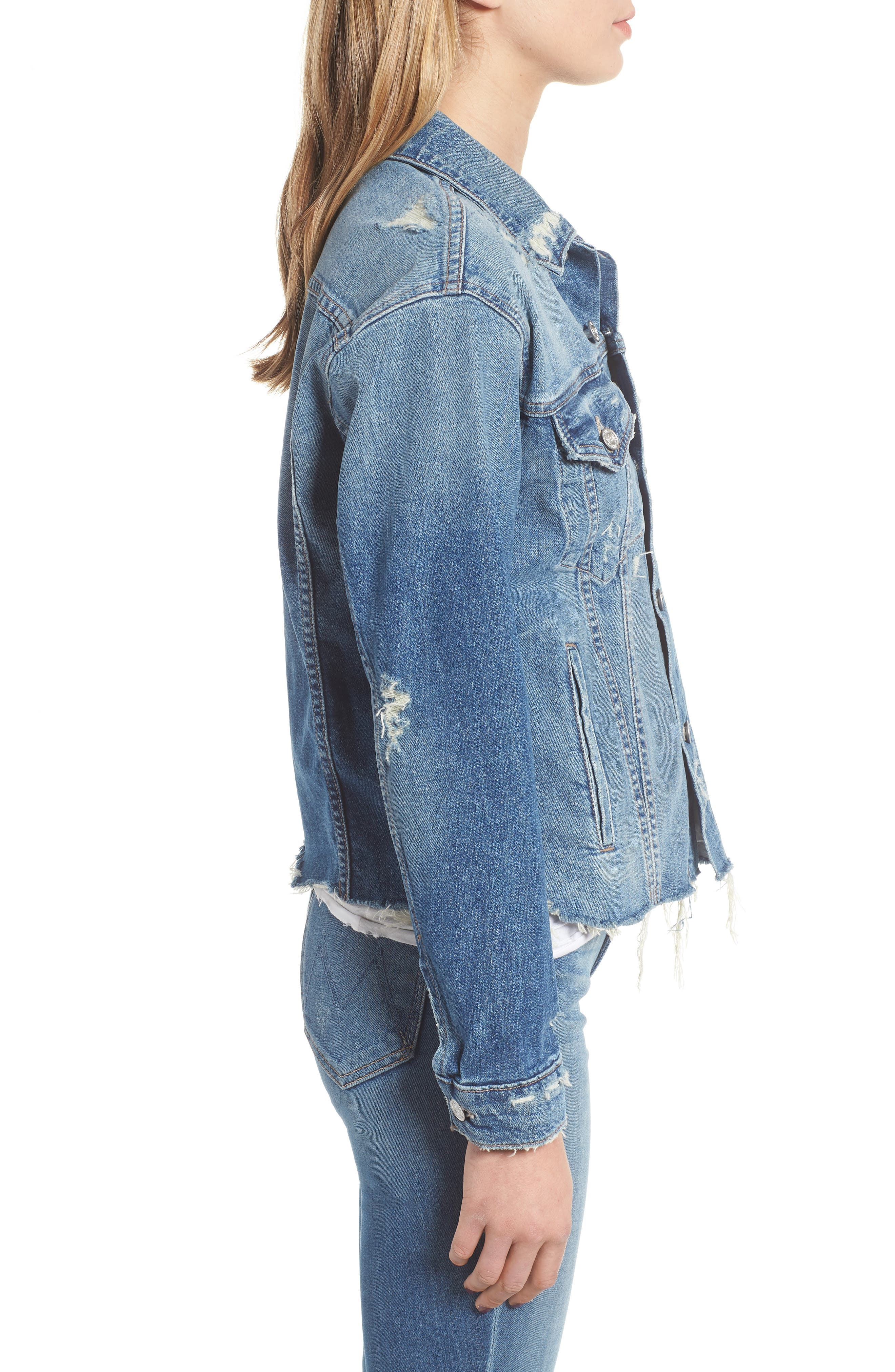 The Cut Denim Jacket,                             Alternate thumbnail 3, color,                             BETTER WHEN ITS WRONG