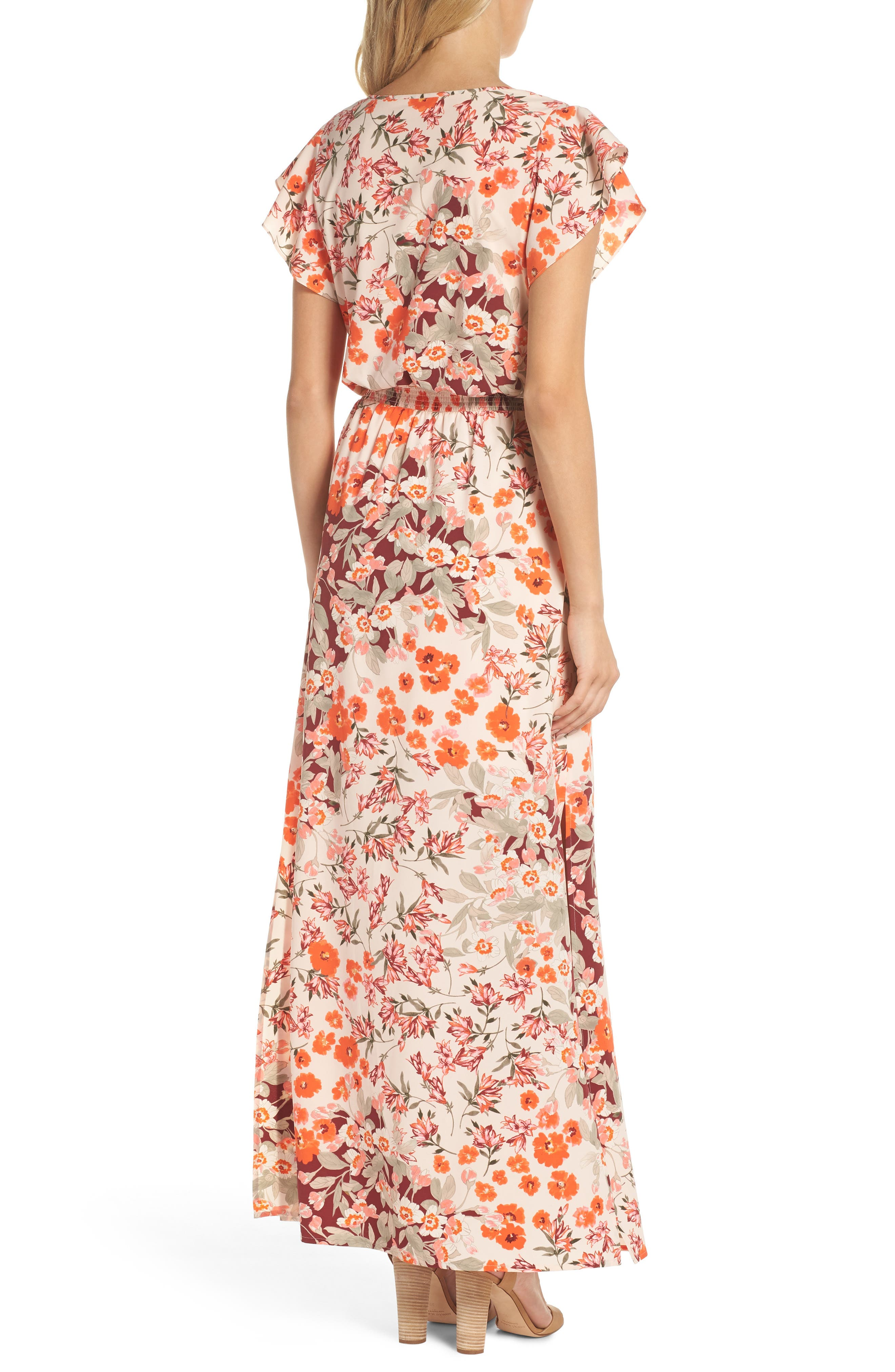 ADRIANNA PAPELL,                             Floral Ruffle Sleeve Maxi Dress,                             Alternate thumbnail 2, color,                             640