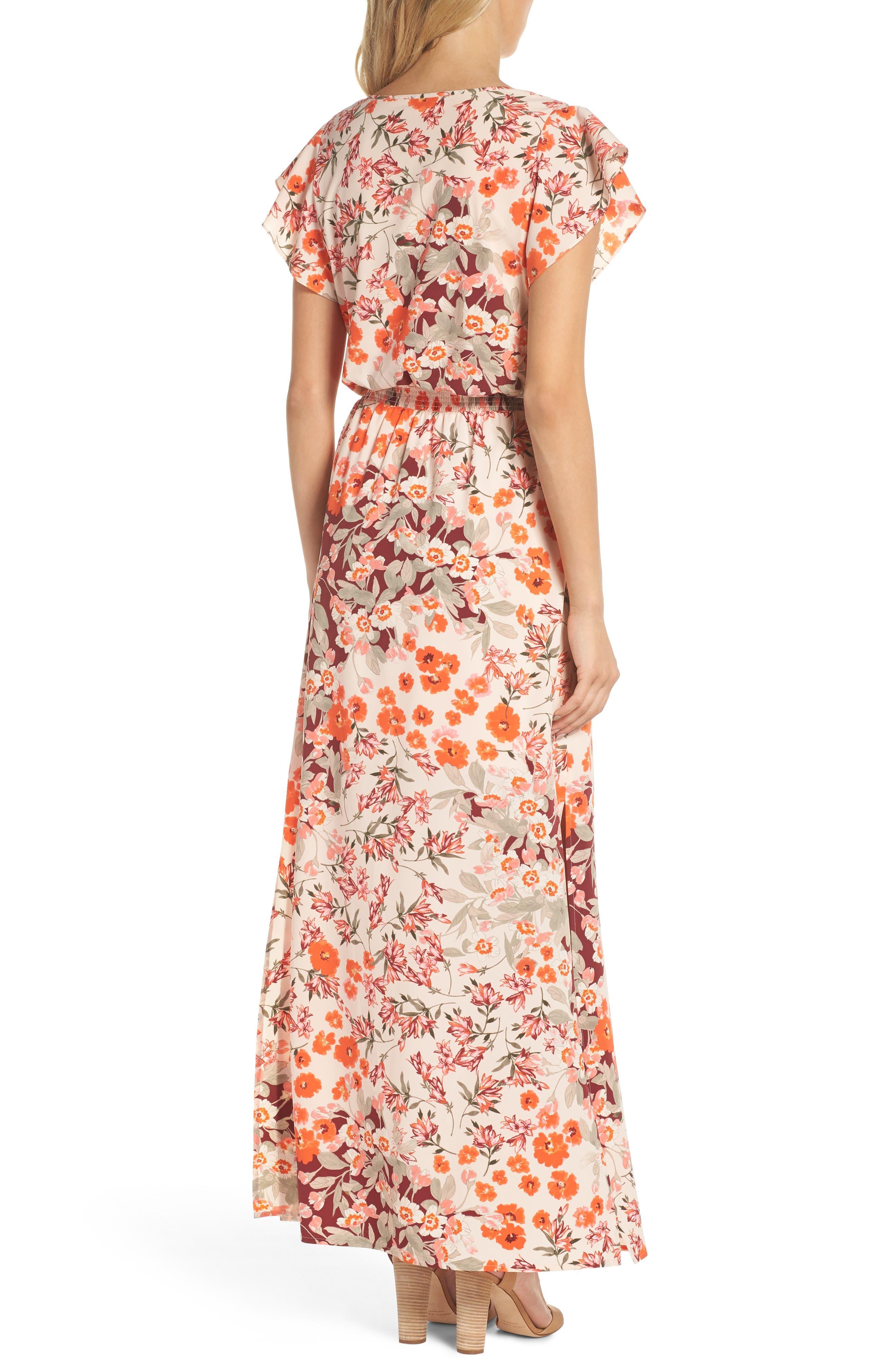 Floral Ruffle Sleeve Maxi Dress,                             Alternate thumbnail 2, color,                             640