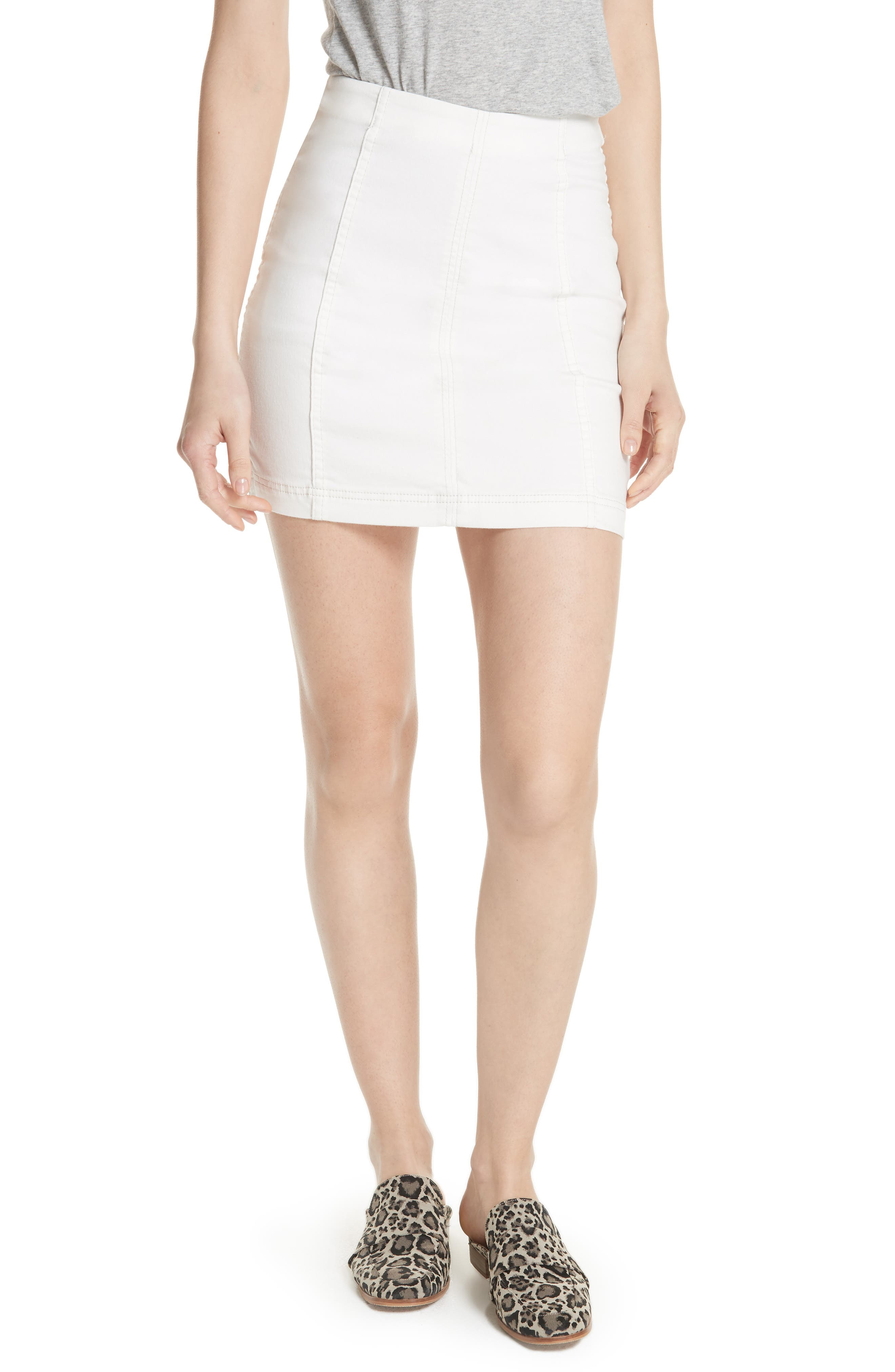 We the Free by Free People Modern Femme Denim Skirt,                             Main thumbnail 1, color,                             WHITE