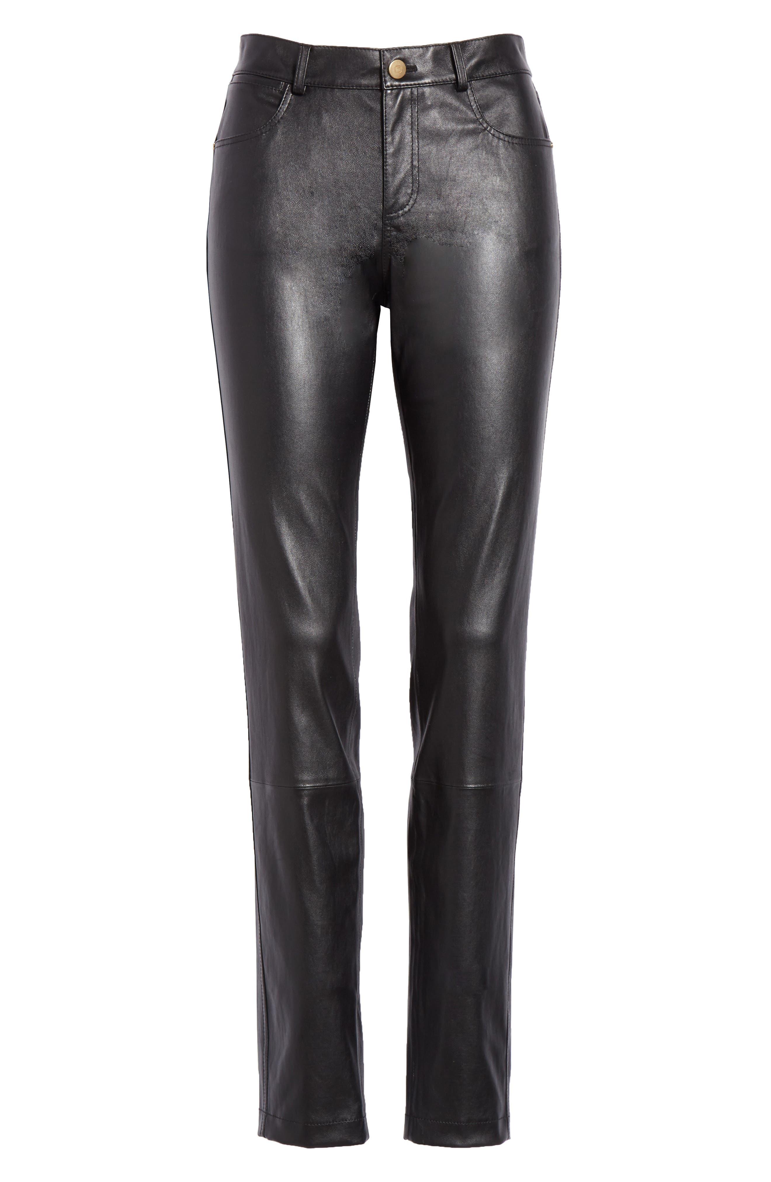 Mercer Nappa Leather Pants,                             Alternate thumbnail 6, color,                             BLACK
