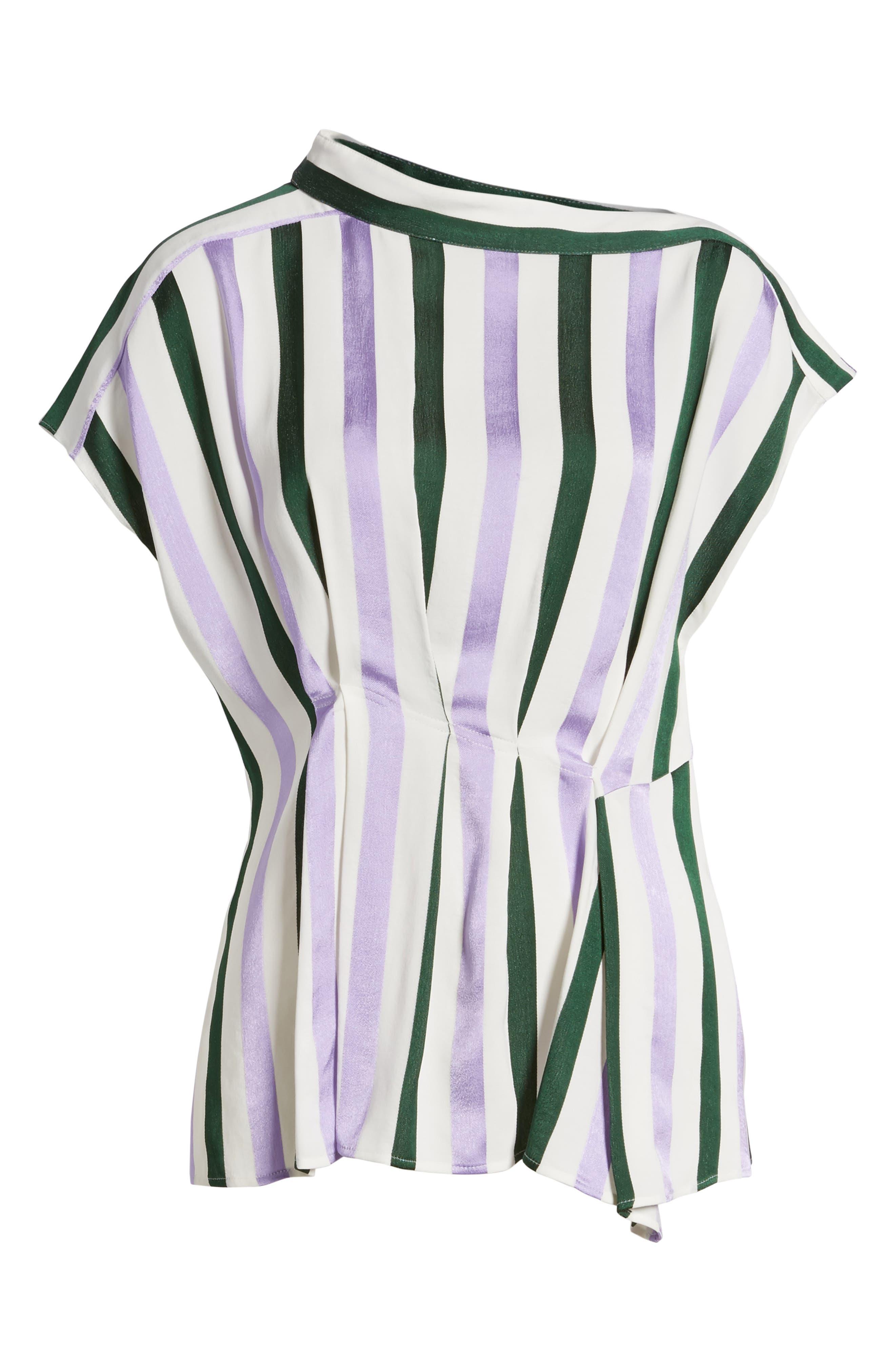 Stripe Draped Peplum Top,                             Alternate thumbnail 6, color,                             310