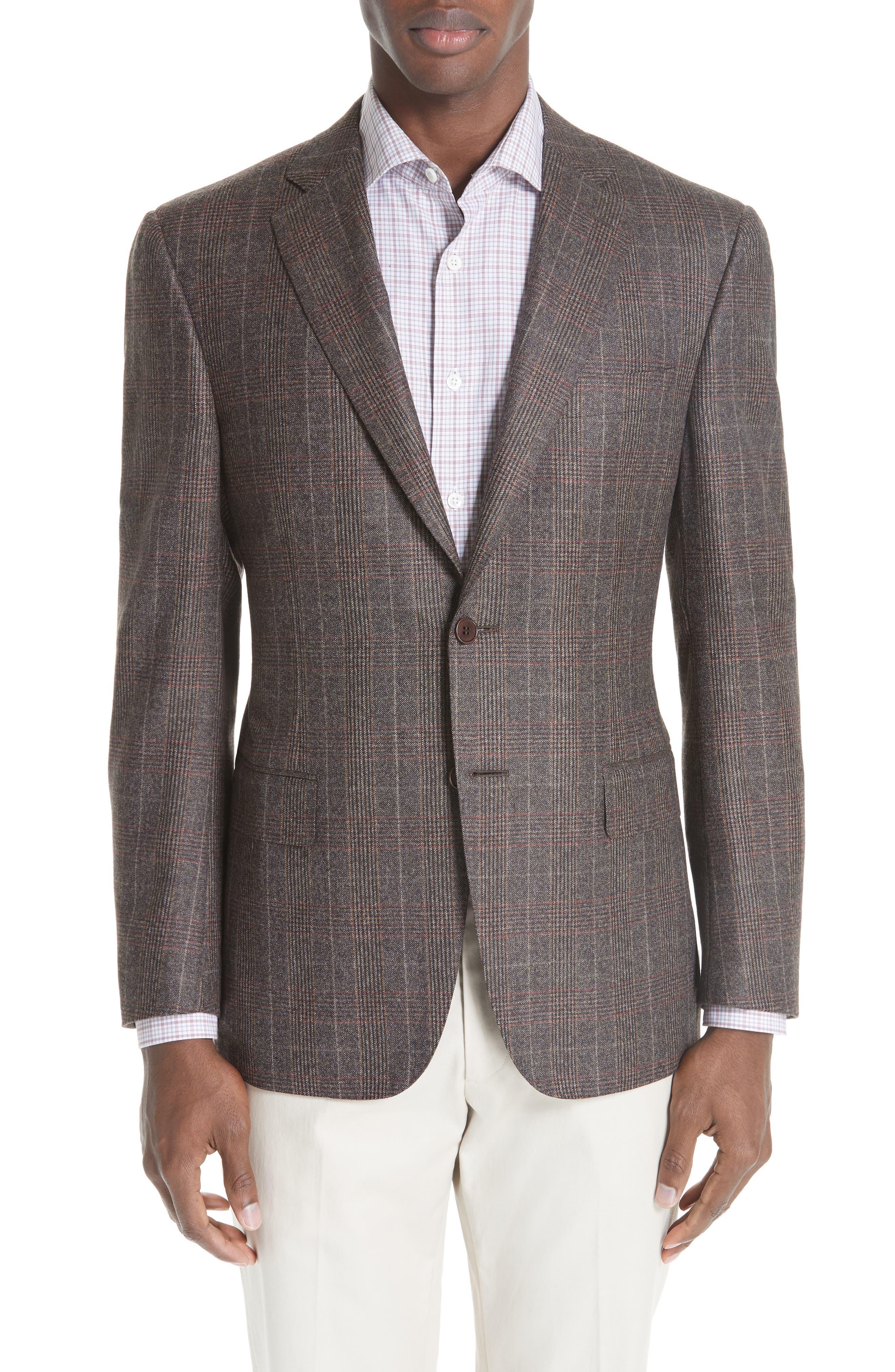 CANALI,                             Classic Fit Plaid Wool Sport Coat,                             Main thumbnail 1, color,                             200